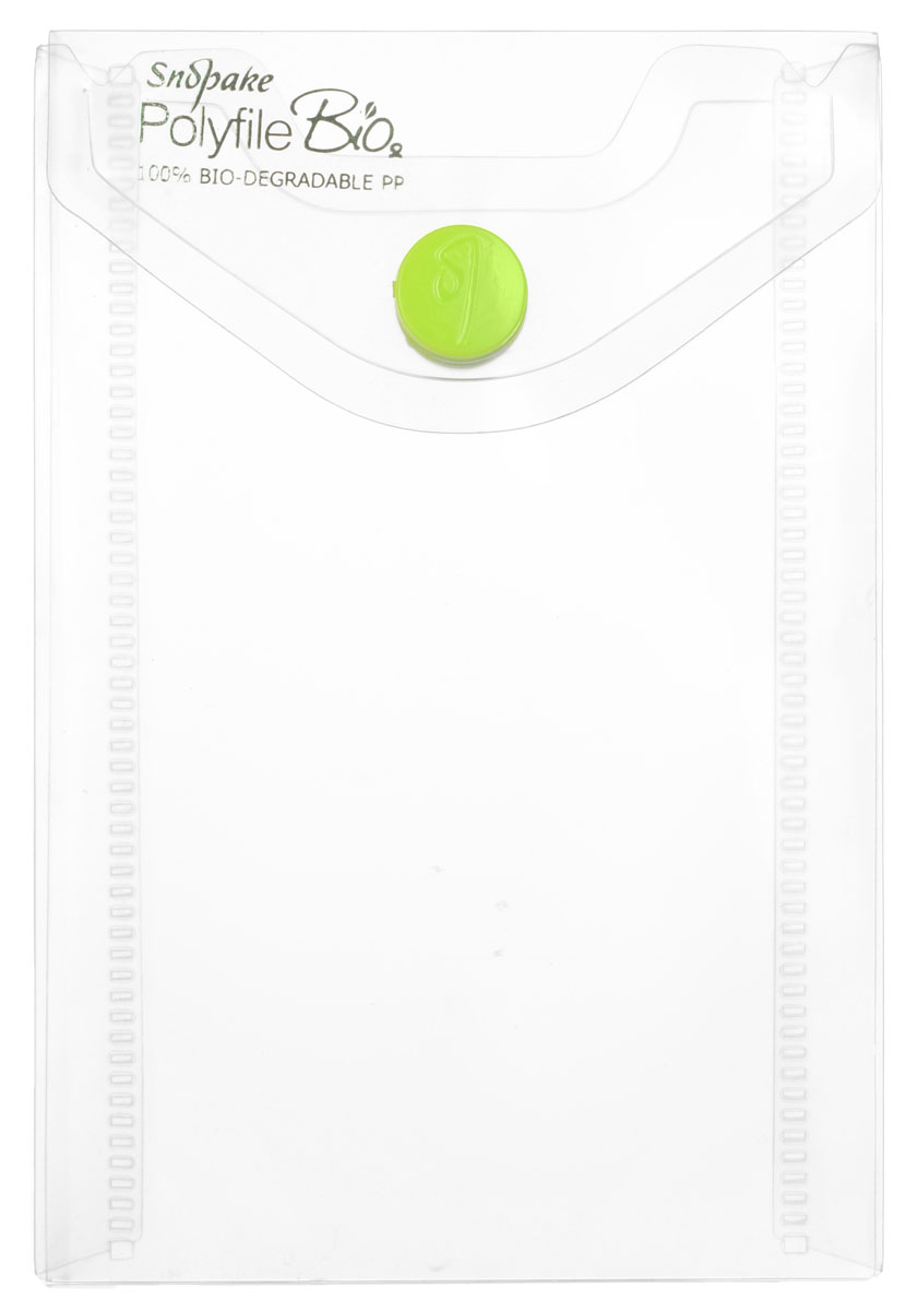 """Папка-конверт на кнопке """"Snopake"""", вертикальная, цвет: прозрачный. Формат А7"""
