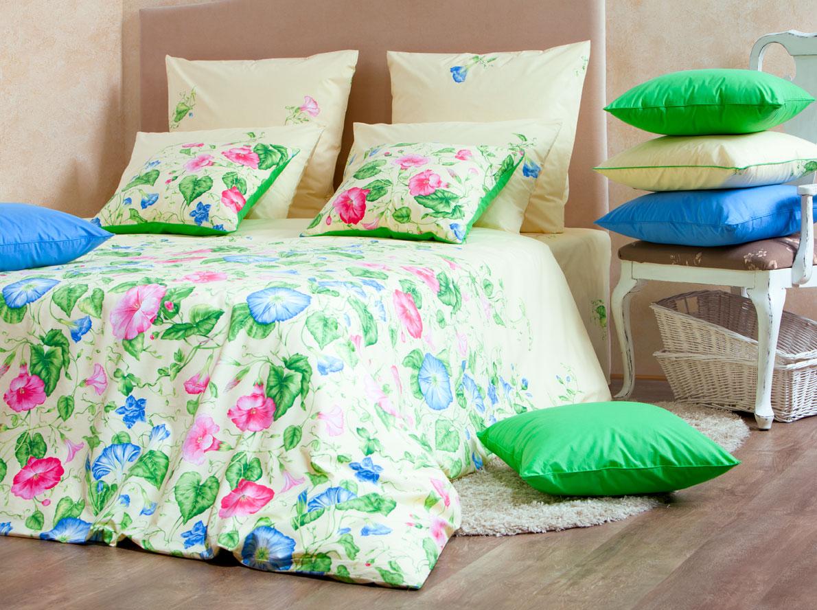 Комплект белья Mirarossi Gloria, 2-спальный, наволочки 70х70, цвет: кремовый, розовый, зеленый комплект белья mirarossi sofia 2 спальный наволочки 70х70 цвет кремовый зеленый сиреневый