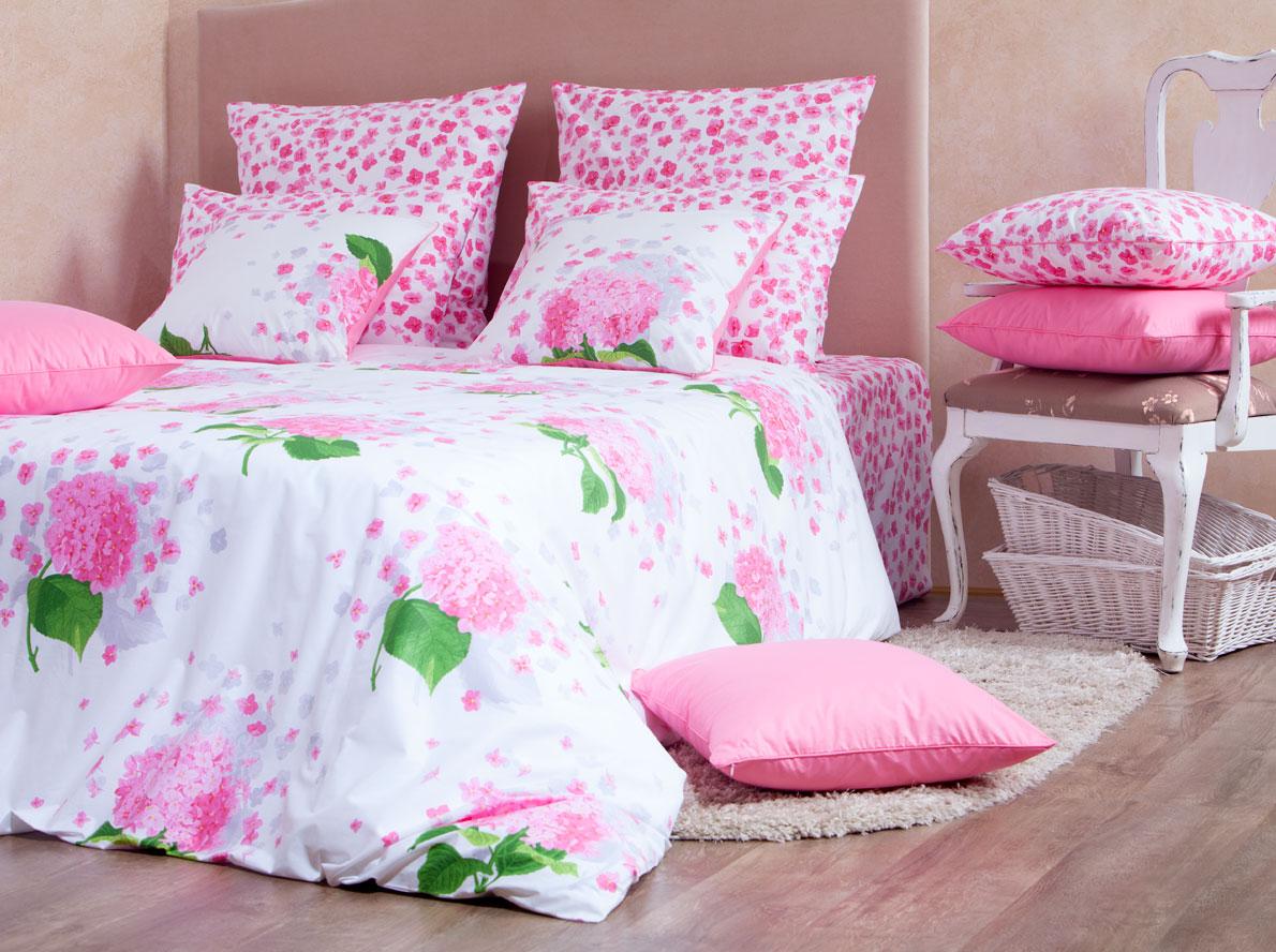 Комплект белья Mirarossi Virginia, 2-спальный, наволочки 50х70, цвет: белый, розовый, зеленый комплект mirarossi gamma di colori евро простыня 2 наволочки 50х70 цвет белый