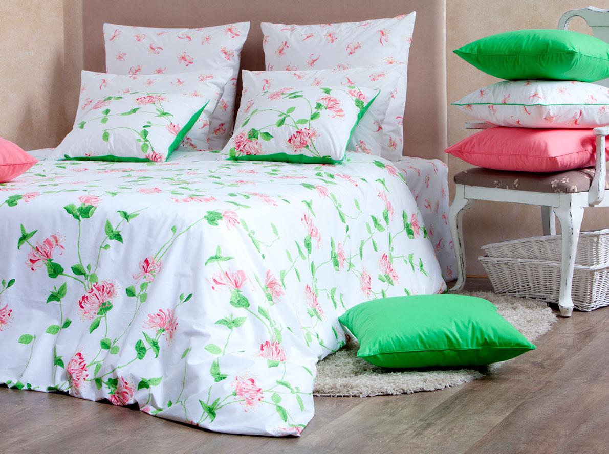 Комплект белья Mirarossi Domenica, 2-спальный, наволочки 50х70, цвет: белый, коралловый, зеленый комплект mirarossi gamma di colori евро простыня 2 наволочки 50х70 цвет белый