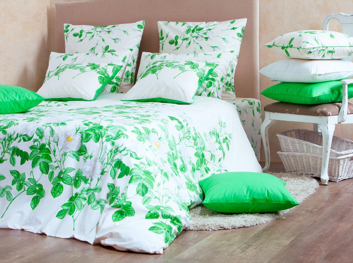 Комплект белья Mirarossi Patrizia, евро, наволочки 70х70, цвет: белый, зеленый patrizia pepe pa748ewjma34 patrizia pepe