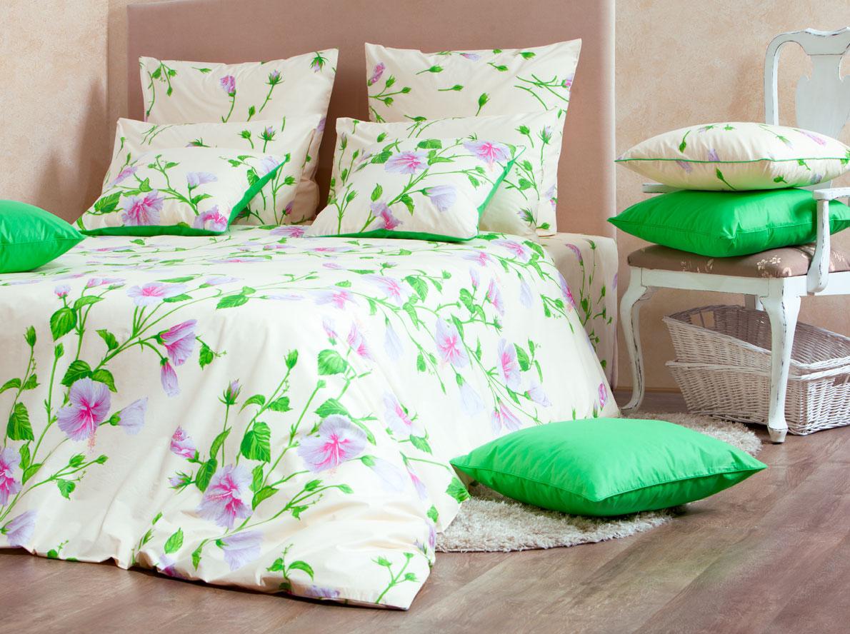 Комплект белья Mirarossi Francesca, евро, наволочки 70х70, цвет: кремовый, зеленый, сиреневый комплект белья mirarossi sofia 2 спальный наволочки 70х70 цвет кремовый зеленый сиреневый