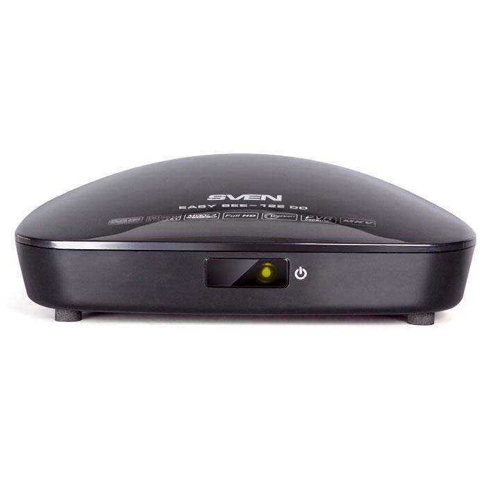 Sven EASY SEE-122 DD ТВ-тюнерEASY SEE-122 DDSven EASY SEE-122 DD выпускается в компактном пластиковом корпусе. Тюнер подключается к ТВ через разъемы CVBS (RCA) или HDMI.Цифровые тюнеры от компании Sven стандарта DVB-T/T2 со встроенным мультимедийным плеером позволяют с минимальными затратами улучшить качество телевизионного изображения, принимая открытые каналы в формате HD и SD без помех и искажений.Данная модель может использоваться как с телевизорами Full HD и HD Ready, так и с более ранними моделями. Прием телесигнала тюнерами может осуществляться через эфирную антенну или, если данная услуга предоставляется провайдером, от коллективной антенны. Это устройства будет особенно интересно владельцам дач и загородных домов.Sven EASY SEE-122 DD поддерживает телевидение высокой четкости 720p, 1080i, 1080p, имеет удобный пульт дистанционного управления, цифровой коаксиальный (SPDIF) выход и встроенный USB-порт, позволяющий подключать внешние запоминающие устройства для записи и хранения медиаконтента.Цифровое радиоДиапазон в частотных границах: МВ: 177.5-226.5 МГц; ДМВ: 474-858 МГц