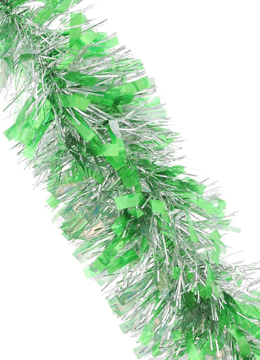 Мишура новогодняя Sima-land, цвет: салатовый, серебристый, диаметр 9,6 см, длина 200 см. 706596706596_салатовый, серебристыйМишура новогодняя Sima-land, выполненная из фольги, поможет вам украсить свой дом к предстоящим праздникам. Мишура армирована, то есть имеет проволоку внутри и способна сохранять приданную ей форму. Новогодней мишурой можно украсить все, что угодно - елку, квартиру, дачу, офис - как внутри, так и снаружи. Можно сложить новогодние поздравления, буквы и цифры, мишурой можно украсить и дополнить гирлянды, можно выделить дверные колонны, оплести дверные проемы.