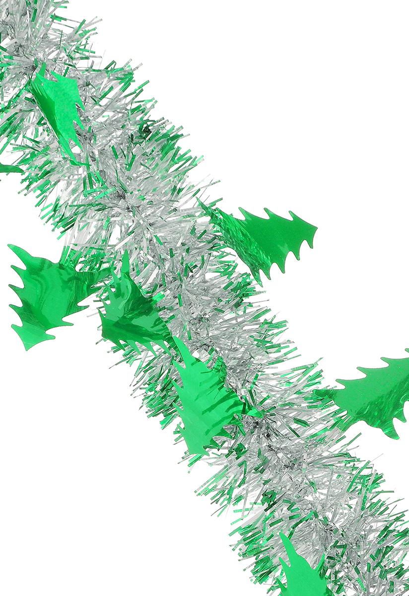 Мишура новогодняя Sima-land, цвет: зеленый, серебристый, диаметр 5 см, длина 200 см. 702614702614_зеленый, серебристыйБлестящая новогодняя мишура Sima-land, выполненная из фольги с дизайном в виде елочек, поможет вам украсить свой дом к предстоящим праздникам. А новогодняя елка с таким украшением станет еще наряднее. Мишура армирована, то есть имеет проволоку внутри и способна сохранять приданную ей форму. Новогодней мишурой можно украсить все, что угодно - елку, квартиру, дачу, офис - как внутри, так и снаружи. Можно сложить новогодние поздравления, буквы и цифры, мишурой можно украсить и дополнить гирлянды, можно выделить дверные колонны, оплести дверные проемы. Коллекция декоративных украшений из серии Зимнее волшебство принесет в ваш дом ни с чем несравнимое ощущение праздника! Создайте в своем доме атмосферу тепла, веселья и радости, украшая его всей семьей.