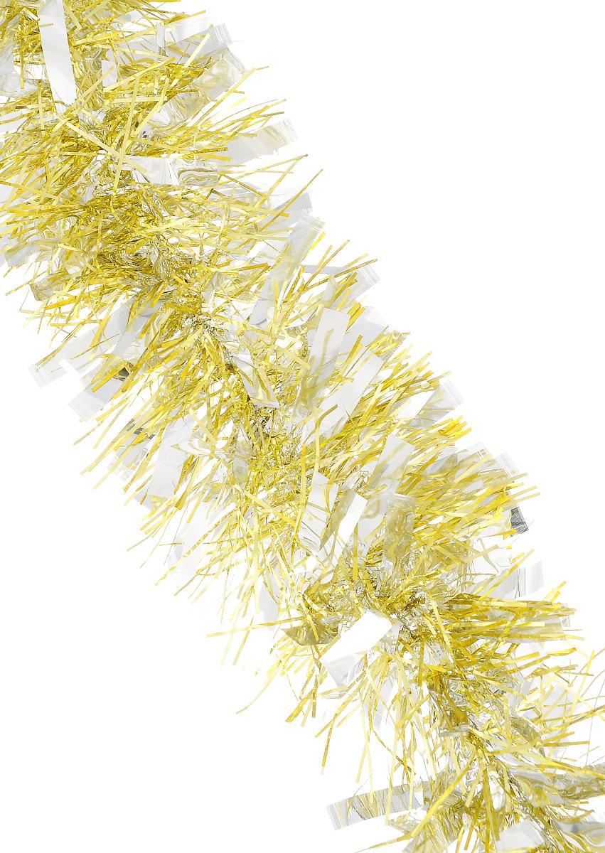 Мишура новогодняя Sima-land, цвет: серебристый, золотистый, диаметр 9 см, длина 200 см. 702581702581_золотистыйМишура новогодняя Sima-land, выполненная из фольги, поможет вам украсить свой дом к предстоящим праздникам. Мишура армирована, то есть имеет проволоку внутри и способна сохранять приданную ей форму.Новогодней мишурой можно украсить все, что угодно - елку, квартиру, дачу, офис - как внутри, так и снаружи. Можно сложить новогодние поздравления, буквы и цифры, мишурой можно украсить и дополнить гирлянды, можно выделить дверные колонны, оплести дверные проемы. Коллекция декоративных украшений из серии Зимнее волшебство принесет в ваш дом ни с чем несравнимое ощущение праздника! Создайте в своем доме атмосферу тепла, веселья и радости, украшая его всей семьей.