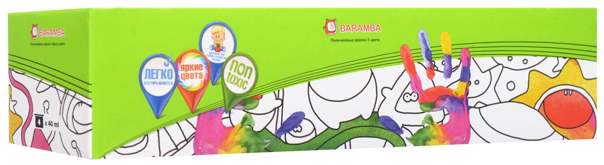 Краски пальчиковые Baramba, 4 цвета. B00530B00530Краски пальчиковые Baramba, 4 цвета представляют собой набор красок красного, зеленого, голубого и желтого цветов. Густые краски на водной основе, не вытекающие из баночки. Легко смываются, быстро сохнут. Рисовать можно пальцами, ладонями, ступнями, кисточкой. Идеальны для раннего развития ребенка. Емкость баночки 40 мл.