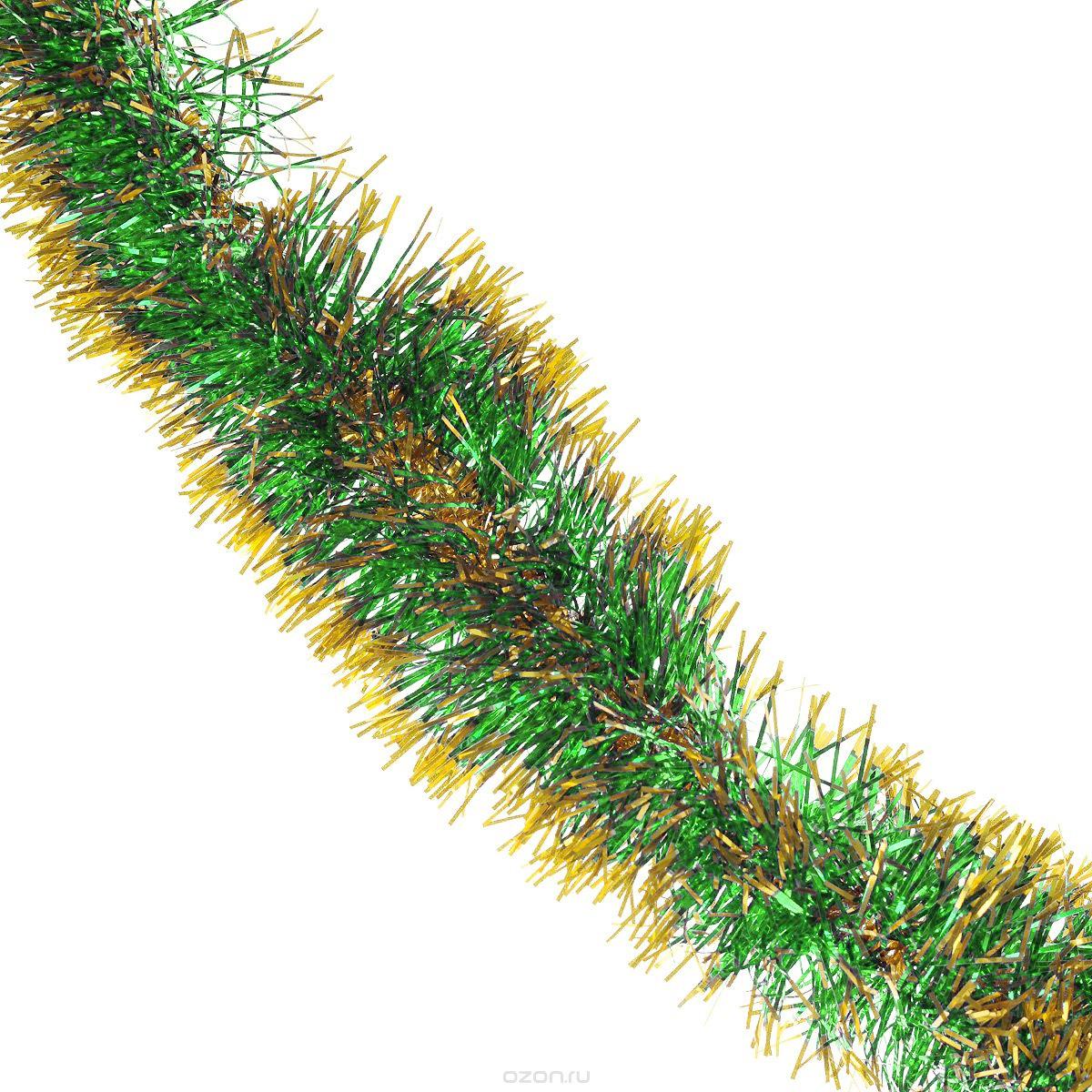 Мишура новогодняя Sima-land, цвет: зеленый, золотистый, диаметр 8 см, длина 200 см. 702630702630_зеленый, золотистыйНовогодняя мишура Sima-land, выполненная из двухцветной фольги, поможет вамукрасить свой дом к предстоящим праздникам. А новогодняя елка с таким украшением станетеще наряднее. Мишура армирована, то есть имеет проволоку внутри и способна сохранятьпридаваемую ей форму. Новогодней мишурой можно украсить все, что угодно - елку, квартиру, дачу, офис - как внутри, так и снаружи. Можно сложить новогодние поздравления, буквы и цифры, мишурой можно украсить идополнить гирлянды, можно выделить дверные колонны, оплести дверные проемы.