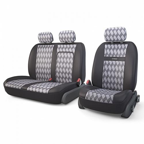 Авточехлы Autoprofi Tranzit, для фургонов, цвет: черный, серый, 7 предметов. TRZ-702 CHESSTRZ-702 CHESSАвтомобильные чехлы Autoprofi Tranzit изготовлены из высококачественного полиэстера и жаккарда со вставками из поролона толщиной 2 мм, обеспечивающего сцепление с сиденьем. Ткань хорошо пропускает воздух и отводит влагу. В комплект входит чехол на водительское кресло, сдвоенный чехол на пассажирское кресло с клапаном на молнии для использования штатного подлокотника.В спинке пассажирского сидения имеется молния для откидного столика. Мягкие чехлы являются отличным дополнением салона любого фургона. Изделия придают автомобильному интерьеру современные и солидные черты.Чехлы подходят для большинства видов коммерческого автотранспорта.Комплектация: 3 подголовника, 2 чехла на сиденья, 2 чехла на спинки.