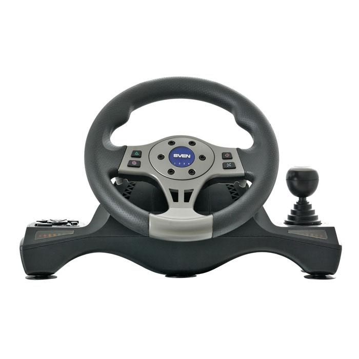 Sven Driver рульSV-063002Игровой манипулятор Sven Driver способен удивить многих своей функциональностью и простотой виспользовании. А реалистичность ощущений от участия в гонках заставит понервничать даже опытных игроков.Функция виброотдачи и встроенный вентилятор, индикация силы ускорения и торможения, педали, рычагпереключения передач Tiptronic, возможность прокручивать руль на 270 градусов – с таким комплектом выощутите любые нюансы дороги: и виражи, и крутые подъемы, и стремительные спуски. А резиновое покрытие руляобеспечит надежный контакт и комфортное вождение во время игры. Модель имеет все, что нужно, чтобы выпочувствовали себя водителем-асом на гоночном треке или на улицах мегаполиса. В основании моделипредусмотрены углубления для ног, поэтому пользователь может установить консоль на колени. Учитывая поройагрессивный и непредсказуемый характер гонок, разработчики позаботились об устойчивости самогоманипулятора: модель имеет присоски и две скобы для надежной фиксации к столу.В Sven Driver чувствительность руля настраивается с помощью регулятора. В начале игры можнозапрограммировать различные функции, облегчающие прохождение трассы, например: включение дворников ифар при изменении погодных условий во время гонки, использование ручника, включение ускорения и т.д. Дляэтого отведены двенадцать дополнительных клавиш, часть из которых расположены на кнопочной панели, часть –на руле.Еще одна сильная сторона модели – совместимость с самыми популярными ОС: Windows XP/Vista/7/8, а также сплатформами PlayStation 2 и PlayStation 3. Просто подключите руль к вашему ПК или приставке с помощью USB иПоехали!.Диаметр руля: 10 (254 мм)