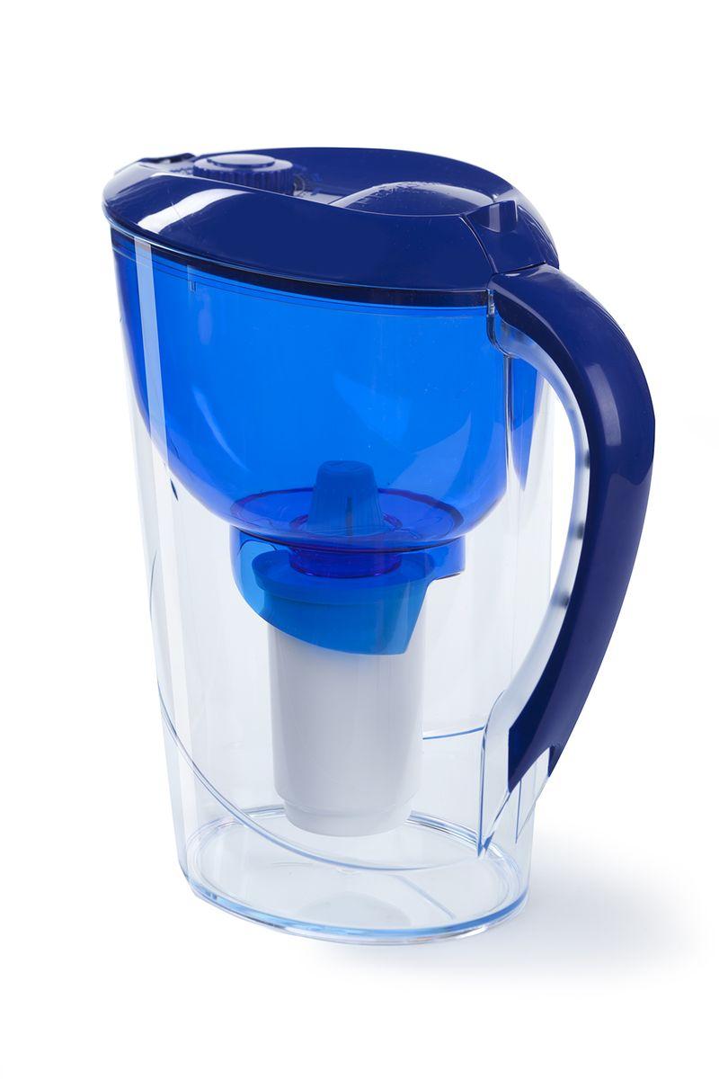 Фильтр-кувшин Гейзер Аквариус.    Фильтр-кувшин для очистки водопроводной и скважиной воды. Кувшин выполнен из высококачественного немецкого пищевого пластика. В крышке фильтра имеется специальный клапан, с помощью которого можно заливать воду, не снимая крышки. Нескользящая ручка позволяет удобно держать кувшин. В комплект Гейзер Аквариус входиткартридж 501 для фильтра-кувшина, состоящий из уникального материала Каталон, ионообменной смолы и кокосового угля. Удаляет ржавчину, растворенное железо, органические соединения, тяжёлые металлы, хлор и др. виды примесей. Содержит активное серебро в несмываемой форме, которое блокирует размножение бактерий. Картридж вкручивается в приемную воронку кувшина, обеспечивая герметичное соединение, что позволяет исключить протечку исходной воды в отфильтрованную.    Преимущества Фильтра-кувшина Гейзер Аквариус:   - Картридж с материалом Каталон (100% защита от вирусов).   - Специальный клапан для заливки воды.   - Нескользящая ручка и сбалансированный центр тяжести.   - Механический индикатор ресурса.    В комплекте картридж Гейзер 501. Ресурс 300 литров.    Дополнительная информация:   Общий объем кувшина - 3,7 л.   Объем приемной воронки - 1,4 л.   Полезный объем - 2 л.   Ресурс 300 л.   Температура очищаемой воды до +40 °С.   Скорость очистки от 0,4 до 0,2 л/мин.   Цвет: синий.