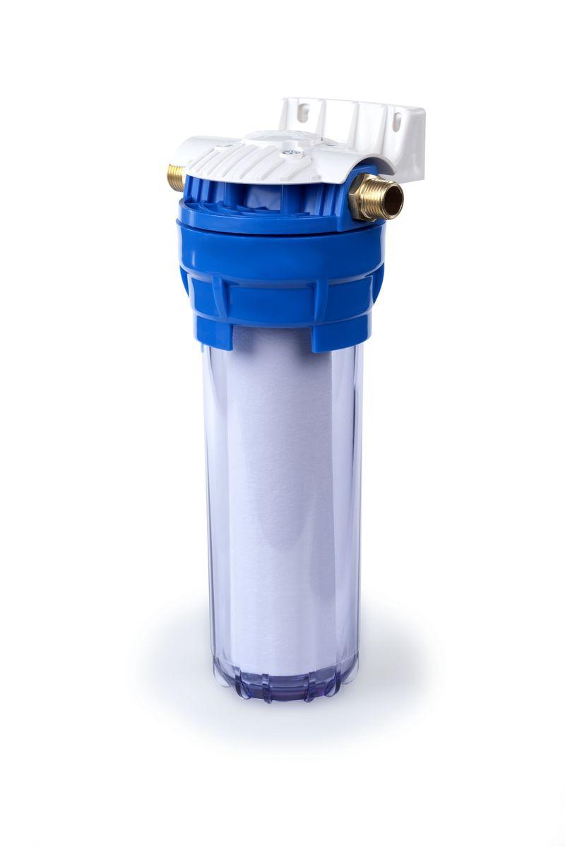 Корпус фильтра Гейзер 1П ? прозрачный предназначен для картриджей типа 10 Slim Line тонкой механической (0,5-100 мкм) и химической очистки воды. Корпус рассчитан на работу под давлением и установки на входе в систему холодного водоснабжения. Изготовлен из прочного белого полипропилена с металлическими ниппелями.  В производстве корпусов используются материалы пищевого класса.