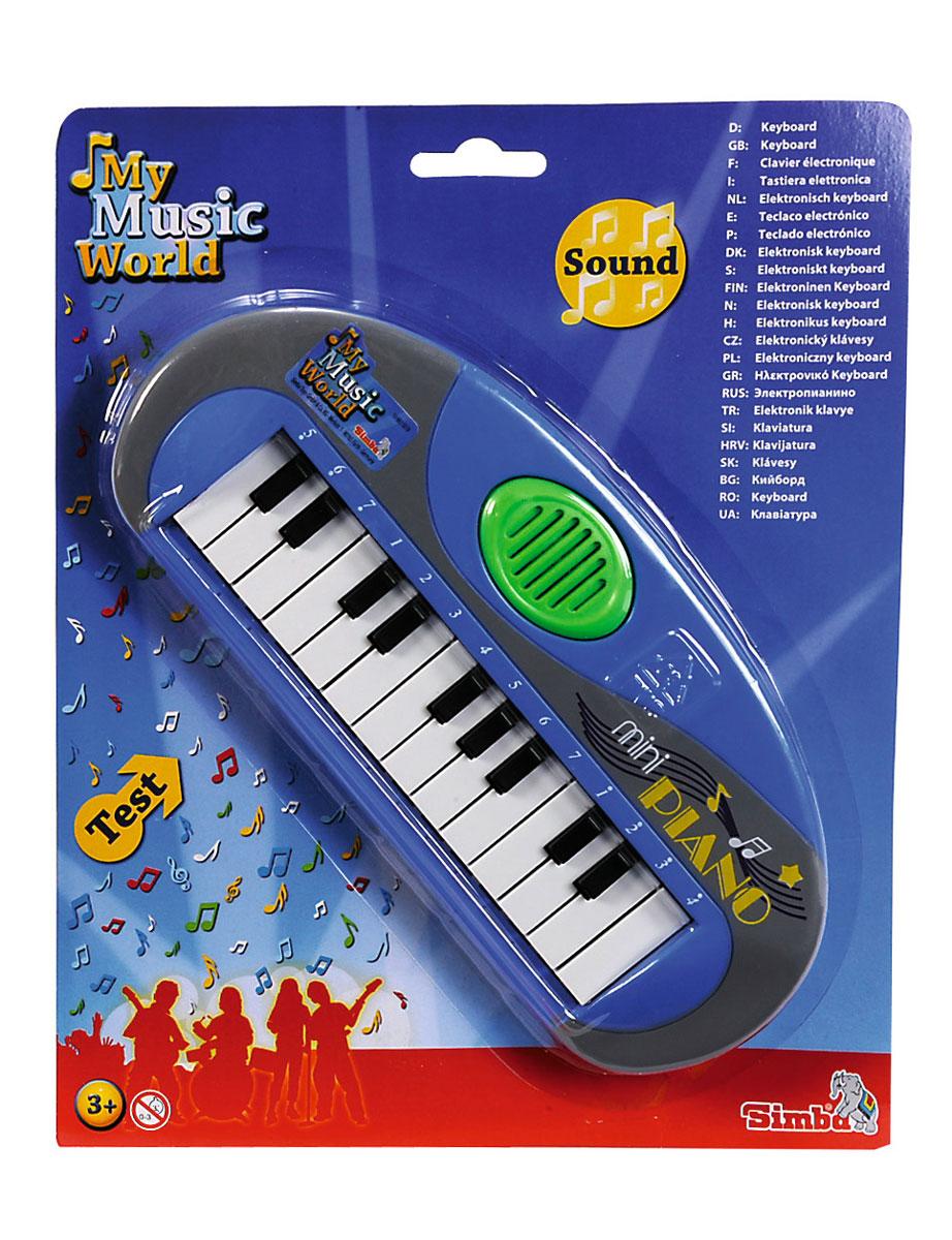 Simba Музыкальная игрушка Мини-пианино цвет голубой simba музыкальная гитара на батарейках свет звук 43 5 см 4010529