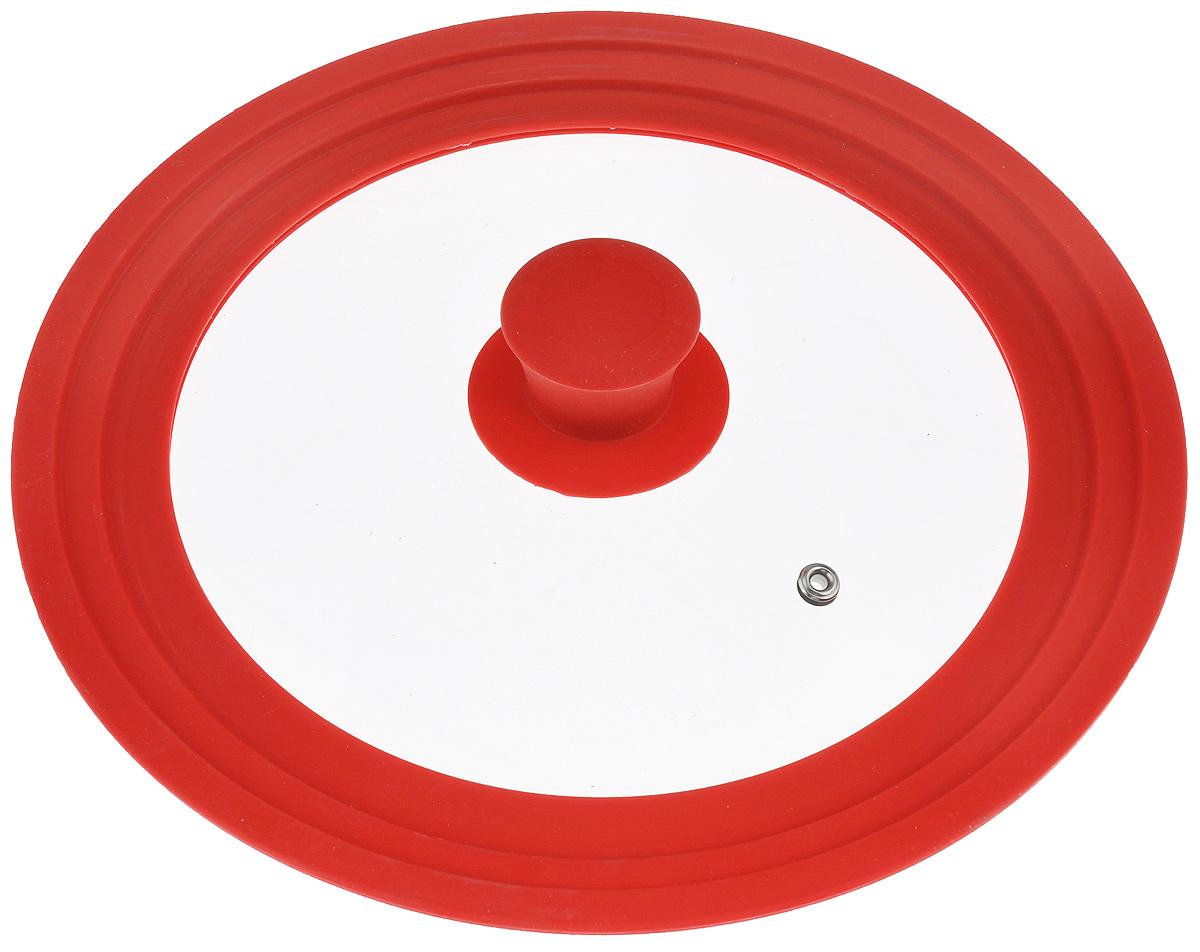 Крышка универсальная Miolla, цвет: красный, для сковород и кастрюль диаметром 22, 24, 26 см1015023UКрышка Miolla подходит в качестве универсальной крышки к сковородам и кастрюлям диаметром 22, 24 и 26 см. Изготовлена из термостойкого стекла толщиной 4 мм. Ручка и ободок выполнены из жаропрочного пищевого силикона, который выдерживает температуру до +200°C. Имеется отверстие для выхода пара. Можно использовать в духовке (до 180°C).Можно мыть в посудомоечной машине.
