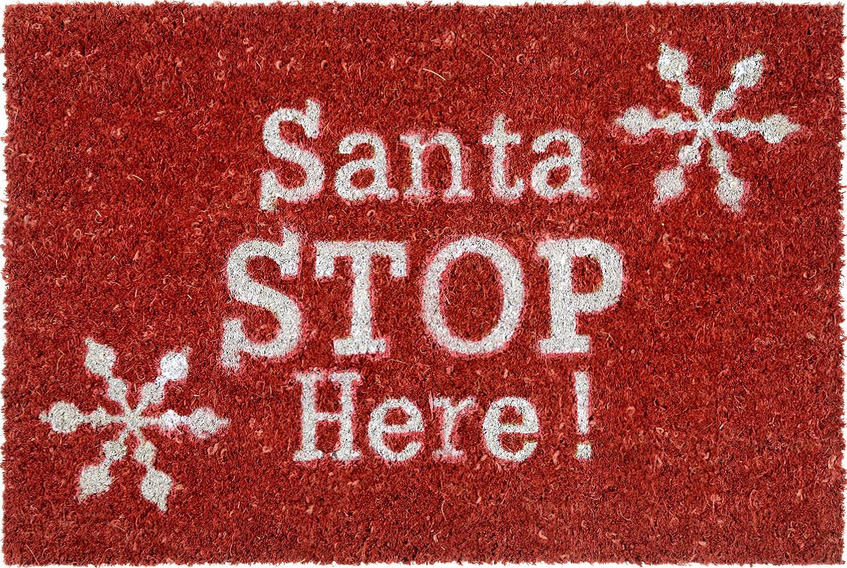 Коврик придверный Gardman Santa Stop Here!, 40 х 60 см82581XSПридверный коврик Gardman Santa Stop Here!, изготовленный из кокосового волокна с основой из ПВХ, имеет жесткий ворс. Изделие оформлено яркими надписями и изображениям снежинок. Его можно использовать отдельно либо с рамкой на резиновой основе для сменных ковриков. Устойчив к любым погодным условиям. Отличается прочностью и долгим сроком службы.Придверный коврик Gardman Santa Stop Here! прекрасно дополнит интерьер прихожей и надежно защитит помещение от уличной пыли и грязи.