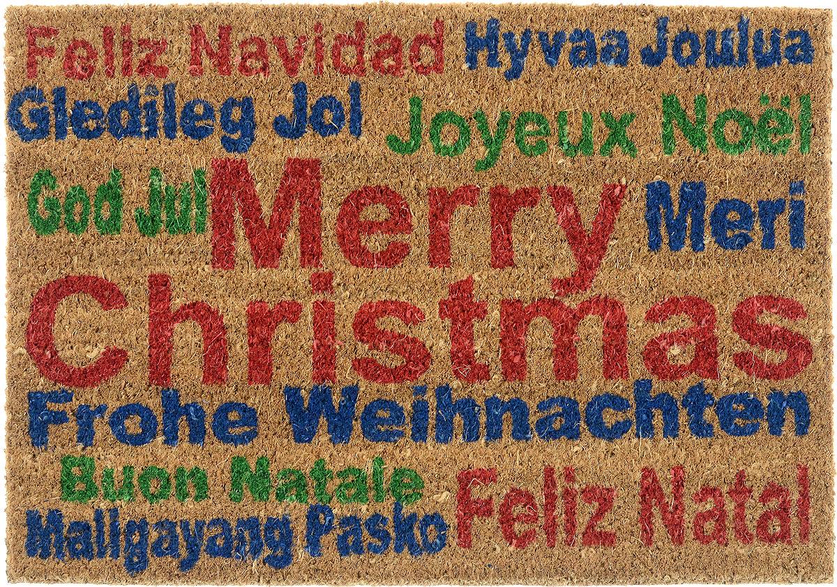 Коврик придверный Gardman Merry Christmas to All, 40 х 60 см82586XSПридверный коврик Gardman Merry Christmas to All, изготовленный из кокосового волокна с основой из ПВХ, имеет жесткий ворс. Изделие оформлено яркими надписями и имеет оригинальный внешний вид. Его можно использовать отдельно либо с рамкой на резиновой основе для сменных ковриков. Коврик устойчив к любым погодным условиям. Отличается прочностью и долгим сроком службы. Придверный коврик Gardman Merry Christmas to All прекрасно дополнит интерьер прихожей и надежно защитит помещение от уличной пыли и грязи.