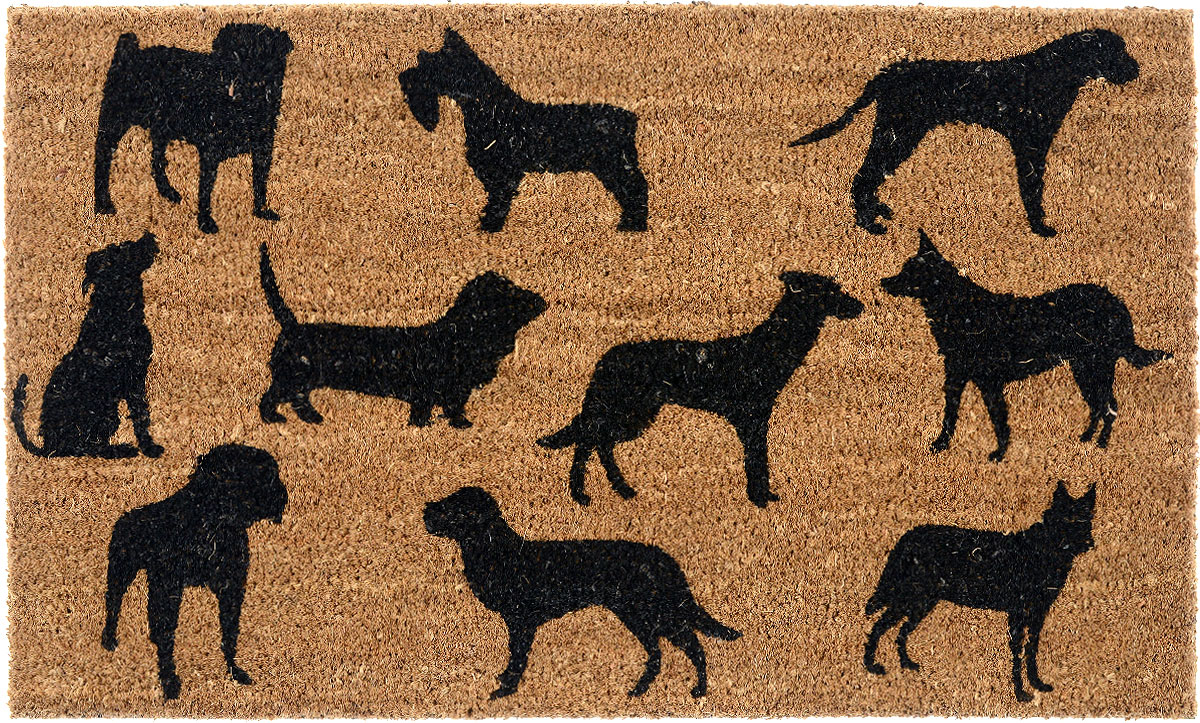 """Придверный коврик Gardman """"Dog Montage"""", изготовленный из кокосового волокна с основой из ПВХ, имеет жесткий ворс. Коврик оформлен декорирован изображением собак. Его можно использовать отдельно либо с рамкой на резиновой основе для сменных ковриков. Устойчив к любым погодным условиям. Отличается прочностью и долгим сроком службы. Такой коврик прекрасно дополнит интерьер прихожей и надежно защитит помещение от уличной пыли и грязи."""