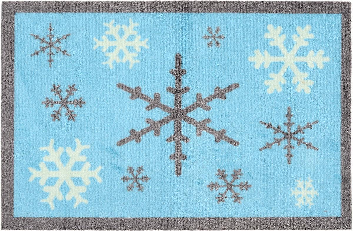 Коврик придверный Gardman Snowflake, 50 см х 75 см82589XSПридверный коврик Gardman Snowflake, изготовленный из нейлона на основе ПВХ, оформлен ярким изображением снежинок. Он прост в обслуживании, прочный и устойчивый к различным погодным условиям.Коврик Gardman Snowflake дополнит интерьер прихожей и надежно защитит помещение от уличной пыли и грязи.