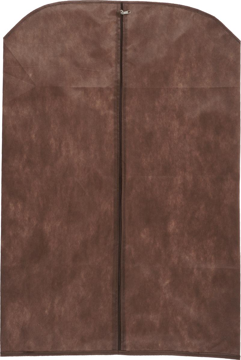 Чехол для одежды Eva, цвет: коричневый, 65 х 100 смЕ16_коричневыйЧехол для одежды Eva изготовлен из высококачественного нетканого материала. Особое строение полотна создает естественную вентиляцию: материал дышит и позволяет воздуху свободно проникать внутрь чехла, не пропуская пыль. Благодаря форме чехла, одежда не мнется даже при длительном хранении. Застегивается на молнию.Чехол для одежды будет очень полезен при транспортировке вещей на близкие и дальние расстояния, при длительном хранении сезонной одежды, а также при ежедневном хранении вещей из деликатных тканей. Чехол для одежды не только защитит ваши вещи от пыли и влаги, но и поможет доставить одежду на любое мероприятие в идеальном состоянии.