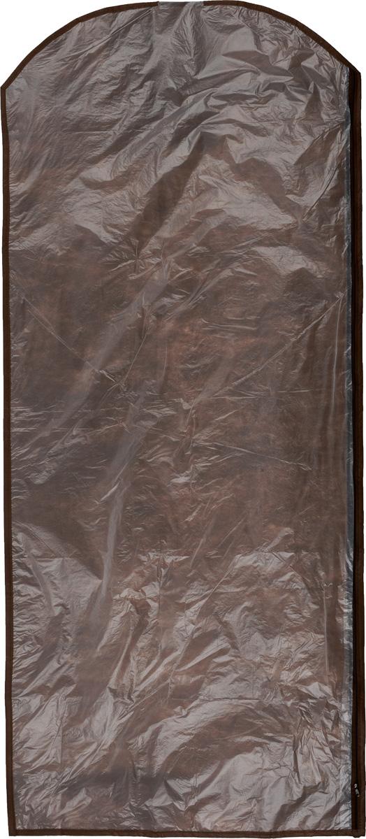 Чехол для одежды Eva, цвет: коричневый, 65 х 150 смЕ171_коричневыйЧехол для одежды Eva изготовлен из высококачественного полипропилена и полиэтилена. Особое строение полотна создает естественную вентиляцию: материал дышит и позволяет воздуху свободно проникать внутрь чехла, не пропуская пыль. Благодаря форме чехла, одежда не мнется даже при длительном хранении. Застегивается на молнию.Чехол для одежды будет очень полезен при транспортировке вещей на близкие и дальние расстояния, при длительном хранении сезонной одежды, а также при ежедневном хранении вещей из деликатных тканей. Чехол для одежды не только защитит ваши вещи от пыли и влаги, но и поможет доставить одежду на любое мероприятие в идеальном состоянии.