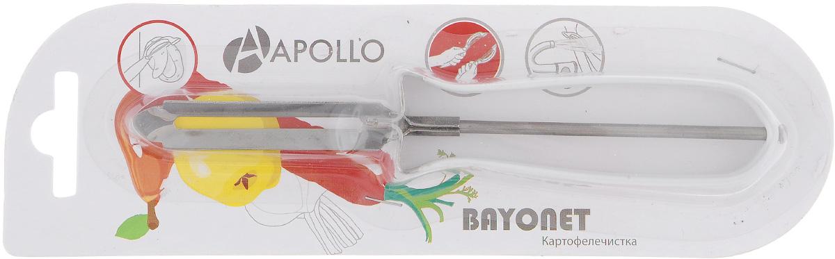 Картофелечистка Apollo Bayonet, цвет: белыйBOT-01Картофелечистка Bayonet предназначена для аккуратного удаления кожуры с овощей и фруктов. Изделие выполнено из высококачественной нержавеющей стали. Ручка имеет противоскользящее покрытие.Общая длина картофелечистки: 15 см.Длина рабочей части: 6 см.