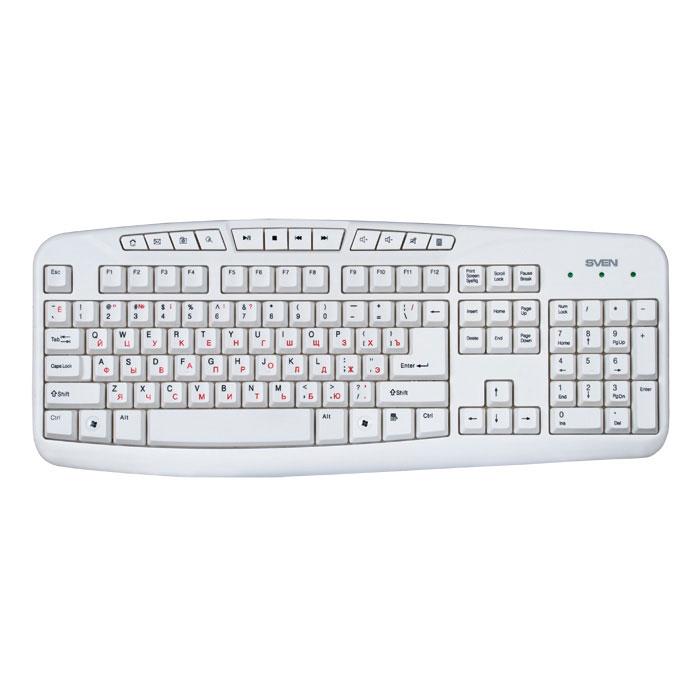 Sven Comfort 3050, White клавиатураSV-03103050UWSven Comfort 3050 рассчитана на тех, кто много времени проводит за компьютером. Конструкция клавиатуры разработана специально для того, чтобы максимально уменьшить нагрузку на руки.Двадцать первый век – это время развитых интернет-технологий и мобильной связи. Как ни странно, но мы уже не можем представить себя без компьютера. Используя его, мы работаем, организуем свой досуг, учимся и общаемся с целым миром! Мощность процессора и скорость обработки информации сегодня достигает огромных значений. Поэтому для эффективной работы со столь сложным механизмом необходим достойный орган управления. И он есть! При одном взгляде на обновленную линейку клавиатур Sven в голове звучит призыв: Почувствуй себя дирижером технического оркестра, управляй компьютером с легкостью и уверенностью в каждом движенииНаработка на отказ: свыше 20 000 000 нажатий