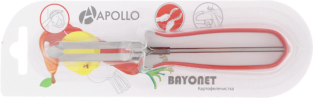 Картофелечистка Apollo Bayonet, цвет: красныйBOT-01_краснКартофелечистка Bayonet предназначена для аккуратного удаления кожуры с овощей и фруктов. Изделие выполнено из высококачественной нержавеющей стали. Ручка имеет противоскользящее покрытие.Общая длина картофелечистки: 15 см.Длина рабочей части: 6 см.