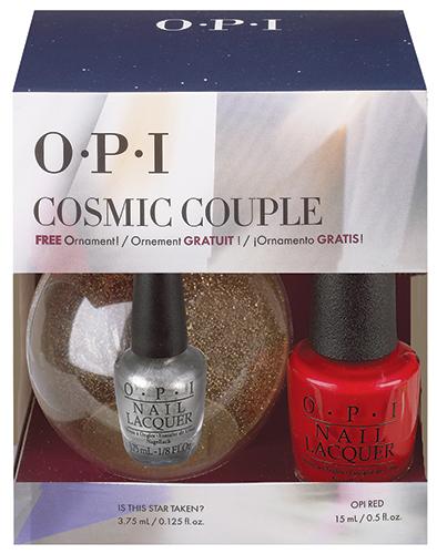 OPI Набор лаков Cosmic Couple NLL72 15 мл, HRG 43 3.75 мл+новогодний шарик OPIHRG25Замечательный новогодний подарок от OPI – промо-набор Cosmic Couple! В состав набора помимо популярного красного лака для ногтей OPI Red входит мини-лак Is this Star Taken объемом 3,75 мл, который можно повесить на елку, ведь он находится в новогоднем шаре!
