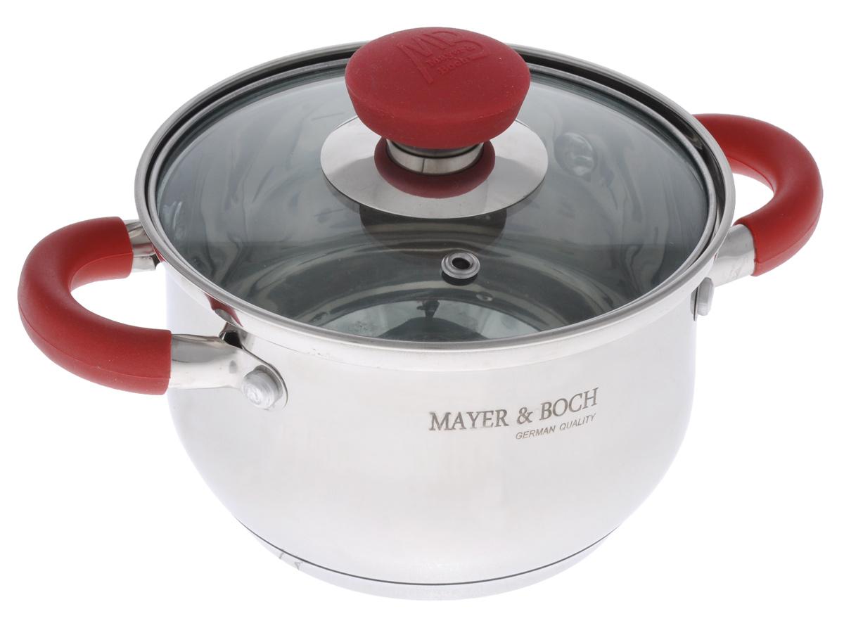 Кастрюля Mayer & Boch с крышкой, 1,5 л. 2236822368Кастрюля Mayer & Boch изготовлена из высококачественной нержавеющей стали с термоаккумулирующим дном. Нержавеющая сталь обладает высокой устойчивостью к коррозии, не вступает в реакцию с холодными и горячими продуктами и полностью сохраняет их вкусовые качества. Особая конструкция дна способствует высокой теплопроводности и равномерному распределению тепла. Материал удерживает тепло по всей поверхности изделия, благодаря чему пища равномерно и быстро нагревается. Посуда идеальна для приготовления здоровой пищи с минимальным количеством жира, что обеспечивает снижение потери полезных витаминов, минеральных веществ и сохраняет аромат приготовленных блюд. Посуда очень удобна в использовании, практична и элегантна. Ручки оснащены силиконовой накладкой, не перегреваются во время приготовления пищи. Крышка выполнена из термостойкого стекла, имеет металлический ободок и отверстие для выпуска пара, стекло позволит наблюдать за процессом приготовления пищи. За посудой легко ухаживать. Подходит для всех типов плит, включая индукционные. Можно мыть в посудомоечной машине.Диаметр кастрюли: 14 см.Ширина кастрюли (с учетом ручек): 22 см.Высота стенки: 10 см.Толщина стенки: 0,5 мм.Толщина дна: 4 мм.