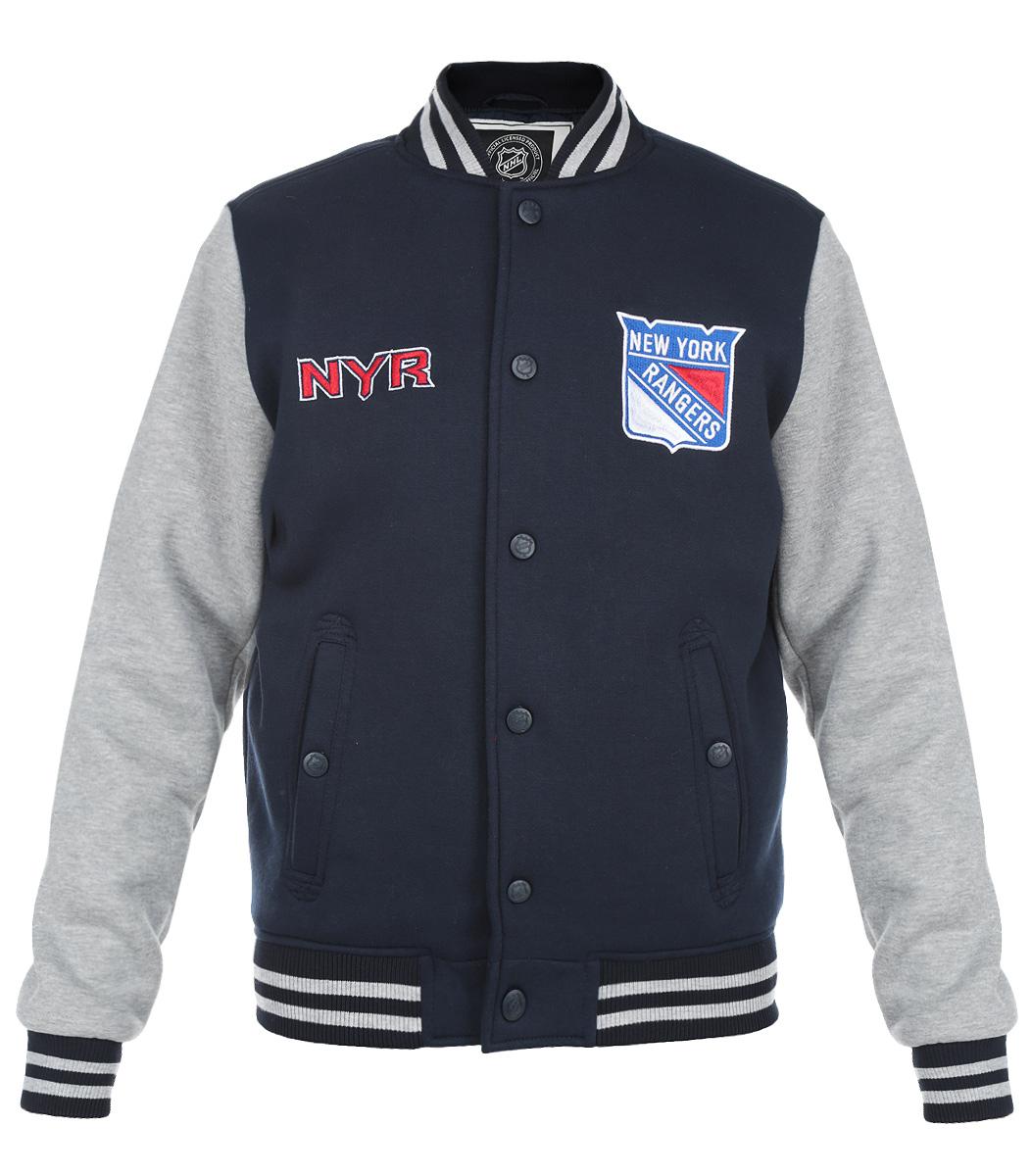 Ветровка мужская NHL NY Rangers, цвет:  темно-синий, серый меланж.  57040.  Размер M (48) NHL