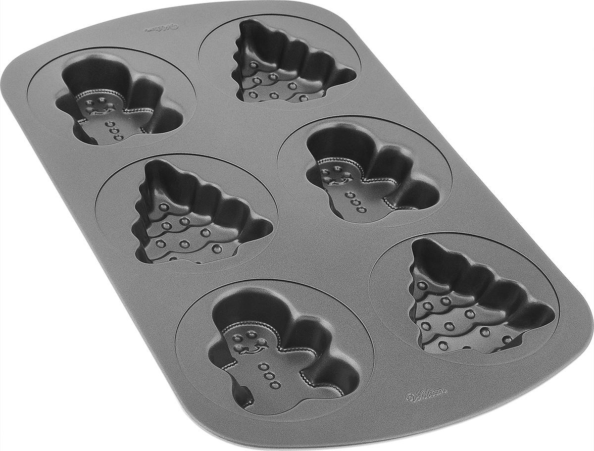 Форма для выпечки Wilton Пряничные человечки и елочки, с антипригарным покрытием, 6 ячеекWLT-2105-1515Форма для выпечки праздничного угощения Wilton Пряничные человечки и елочки изготовлена из металла с антипригарным покрытием. С таким покрытием пища не пригорает и не прилипает к стенкам. Готовить можно с минимальным количеством подсолнечного масла. Форма содержит 6 ячеек в виде пряничных человечков и елочек. Простая в уходе и долговечная в использовании форма будет верной помощницей в создании ваших кулинарных шедевров. Можно мыть в посудомоечной машине. Размер формы: 42 см x 26 см х 4 см.Размер ячейки елочка: 10 см х 9 см х 3,8 см.Размер ячейки пряничный человечек: 9,5 см х 7,5 см х 3,8 см.