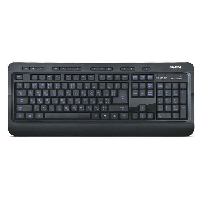 Sven Comfort 7600 EL клавиатураSV-03107600UBEКомпания Sven представила клавиатуру со светодиодной подсветкой: Sven Comfort 7600 EL. В отличие от клавиатуры Sven Comfort 7200 EL в этой модели подсвечиваются лишь символы, а не вся поверхность клавиш. Приятные, слегка тускловатые цвета подсветки (синий, красный или фиолетовый) не утомляют глаза. Символы на печатной раскладке и других вспомогательных кнопках видно очень четко и ясно, поэтому пользователь сохраняет возможность полноценной работы в темном помещении или в ночное время суток. Ну, а когда работа будет сделана, помимо компьютера можно выключить и подсветку – в клавиатуре предусмотрена соответствующая кнопка. Пусть отдыхает… до завтра.Даже в выключенном состоянии клавиатура привлекает к себе внимание. Тонкая конструкция корпуса, глянец, матовая поверхность – сочетание этих особенностей превращает устройство ввода в стильный аксессуар на вашем рабочем столе.В Sven Comfort 7600 EL присутствуют дополнительные клавиши для быстрого вызова офисных и интернет-приложений, а также работы с мультимедийным контентом.