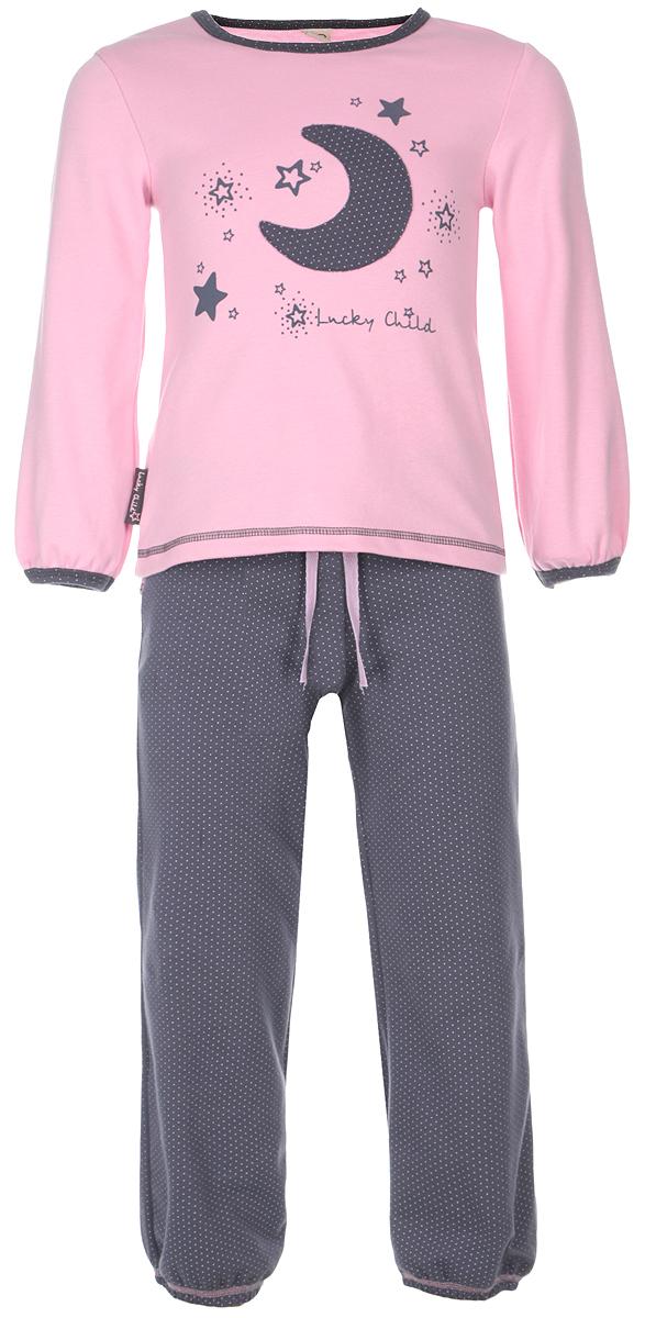 Пижама для девочки Lucky Child, цвет: серо-фиолетовый, розовый. 12-401. Размер 128/13412-401Очаровательная пижама для девочки Lucky Child, состоящая из футболки с длинным рукавом и брюк, идеально подойдет вашей дочурке и станет отличным дополнением к детскому гардеробу. Изготовленная из натурального хлопка - интерлока, она необычайно мягкая и приятная на ощупь, не раздражает нежную кожу ребенка и хорошо вентилируется, а эластичные швы приятны телу и не препятствуют его движениям.Футболка с длинными рукавами и круглым вырезом горловины оформлена оригинальной аппликацией в виде месяца, а также принтом с изображением звездочек и названием бренда. Горловина и низ рукавов оформлены мелким гороховым принтом. Низ изделия оформлен контрастной фигурной прострочкой. Брюки на талии имеют широкий эластичный пояс со шнурком, благодаря чему они не сдавливают животик ребенка и не сползают. Низ брючин присборен на эластичные резинки. Оформлены брюки мелким гороховым принтом. Такая пижама идеально подойдет вашей дочурке, а мягкие полотна позволят ей комфортно чувствовать себя во время сна!