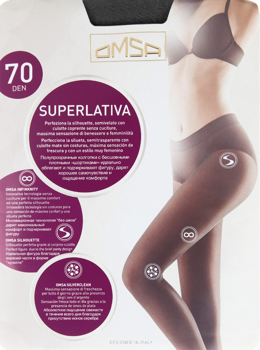 Колготки Omsa SuperLativa 70, цвет: Nero (черный). 4069OM. Размер 5 (48/52) колготки omsa superlativa размер 3 плотность 20 den nero