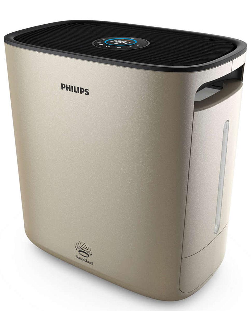 Philips HU5931/10 NanoClean, Champagne мойка воздухаHU5931/10Дышите чистым воздухом благодаря Philips NanoClean. Эффективная технология увлажнения NanoCloud и очищение на наноуровне с помощью фильтра Nano Protect предотвращают развитие симптомов аллергии, делая воздух более здоровым и свежим.Превосходное увлажнение благодаря технологии NanoCloud:Тройная защита от бактерий и плесени. Гигиеничность и безопасность технологии Philips NanoCloud подтверждена сертификатом. Доказанная эффективность: на 99 % меньше бактерий в воздухе по сравнению с ультразвуковыми увлажнителями. Эта технология защищает ваше здоровье в долгосрочной перспективе, обеспечивая чистый воздух, практически полностью очищенный от патогенных организмов и плесени. Невидимые частицы мелкодисперсного водяного пара, создаваемые технологией Philips NanoCloud, не оставляют белой пыли и мокрых пятен. Высокая эффективность увлажнения до 600 мл/ч.4 точные настройки увлажнения, цветовая индикация:Технология Philips NanoCloud поддерживает постоянную и даже относительную влажность на уровне от 40 % до 60 %; 4 точные настройки увлажнения (40 %, 50 %, 60 % и непрерывное увлажнение) обеспечивают широкий выбор возможностей и позволяют автоматически контролировать уровень влажности в помещении в соответствии с потребностями. Когда уровень влажности достигает предварительно установленного значения, светодиодное кольцо с цветовой индикацией автоматически меняет цвет с красного на синий, и скорость вентилятора изменяется соответствующим образом.5 режимов работы вентилятора:5 различных режимов позволяют с легкостью выбрать желаемую скорость вентилятора: скорость 1, скорость 2, скорость 3, турборежим и автоматический режим.Антибактериальный картридж предотвращает рост бактерий на 99,9%:Специальный антибактериальный картридж, который содержит улучшенный шарообразный элемент противомикробного действия на основе прополиса в резервуаре с водой, предотвращает размножение бактерий на 99,9% в течение 24 часов.Фильтр Nano Protect 