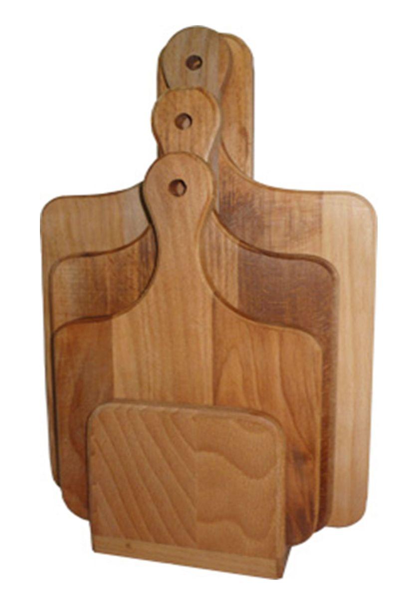 Набор досок разделочных Хозяюшка, на подставке, с ручками, цвет: бежевый, 3 шт. MM31-21MM31-21Набор Хозяюшка состоит из 3 прямоугольных разделочных досок и стойки. Изделия выполнены из бука. Бук боится влаги, но, как в случае со всеми без исключения досками из древесины, вопрос влагостойкостирешается пропиткой дерева специальным минеральным или льняным маслом. Масло защищает доску откоробления, рассыхания и растрескивания. Именно поэтому все доски Хозяюшка обработаны льняным маслом. Доски снабжены ручками с отверстием для подвешивания. Для хранения досок предусмотрена стойка.Нельзя мыть в посудомоечной машине. Для продления срока эксплуатации рекомендуется периодическисмазывать доску растительным маслом.Размер досок: 30 х 19 х 1,8 см; 35 х 21 х 1,8 см; 40 х 25 х 1,8.