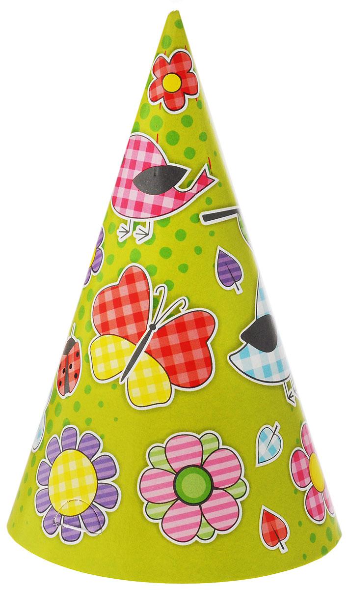 Веселая затея Колпак Летний цвет зеленый желтый 6 шт -  Колпаки и шляпы
