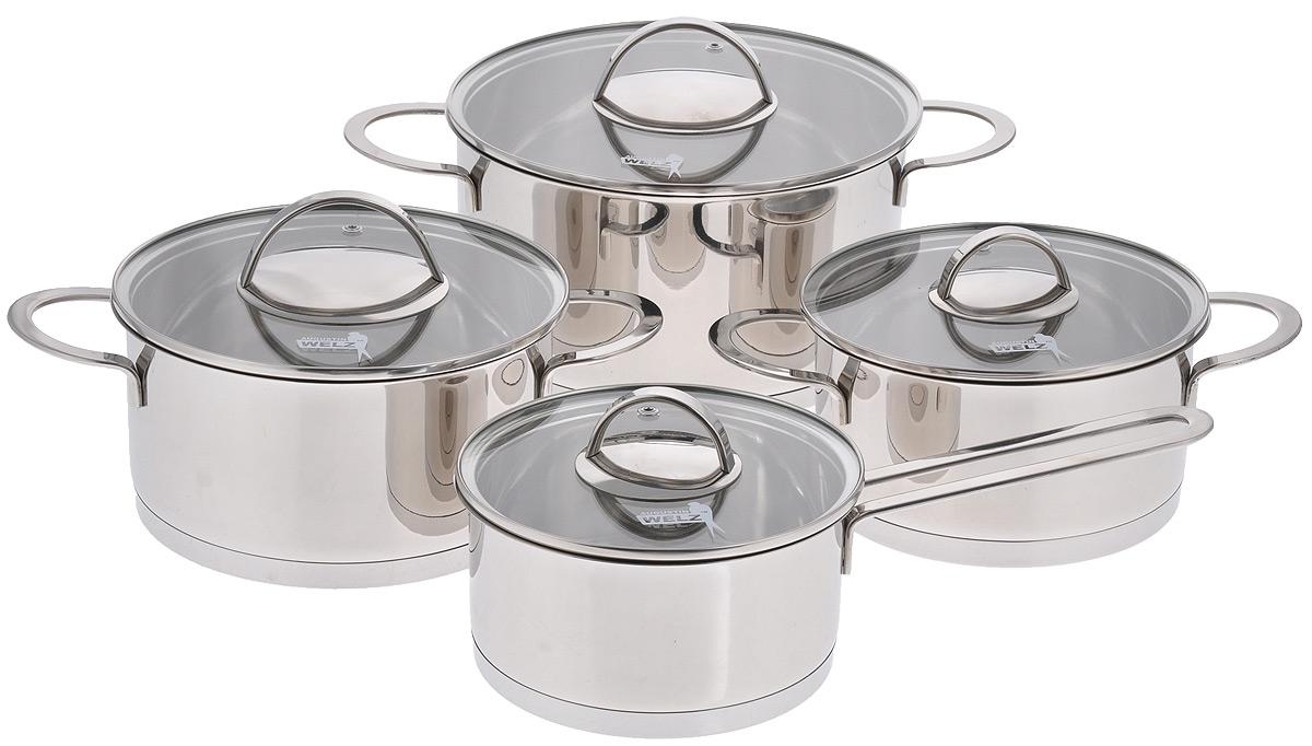 Набор посуды Augustin Welz, 8 предметовAW-2200Набор посуды Augustin Welz состоит из ковша с крышкой и 3 кастрюль разных объемов с крышками. Посуда, изготовленная из высококачественной нержавеющей стали марки 18/8, сочетает в себе высокое качество, функциональность и стиль. Трехслойное штампованное дно из алюминия и нержавеющей стали обеспечивает равномерный нагрев, а также долговечность изделий. Внешняя зеркальная полировка придает посуде эстетичный вид. Крышки из термостойкого стекла с отверстиями для выпуска пара дают возможность полностью контролировать процесс приготовления блюда. Плотно закрывающиеся крышки надежно удерживают тепло и влагу внутри кастрюль. Внутренняя маркировка литража поможет точно дозировать ингредиенты при готовке. Эргономичные литые ручки безопасно и удобно держать даже в кухонных прихватках. Подходит для всех видов плит, включая индукционные. Можно мыть в посудомоечной машине и использовать в духовке при температуре до 200°С. Объем ковша: 1,8 л.Высота ковша: 8,5 см.Диаметр ковша (по верхнему краю): 16 см.Длина ручки ковша: 16 см.Объем кастрюль: 2,3 л; 3,1 л; 5,7 л.Диаметр кастрюль (по верхнему краю): 18 см; 20 см; 24 см.Высота кастрюль: 10 см; 11 см; 13 см.Ширина кастрюль (с учетом ручек): 29 см; 31 см; 37 см.Толщина стенок посуды: 0,6 мм.Толщина дна посуды: 7 мм.