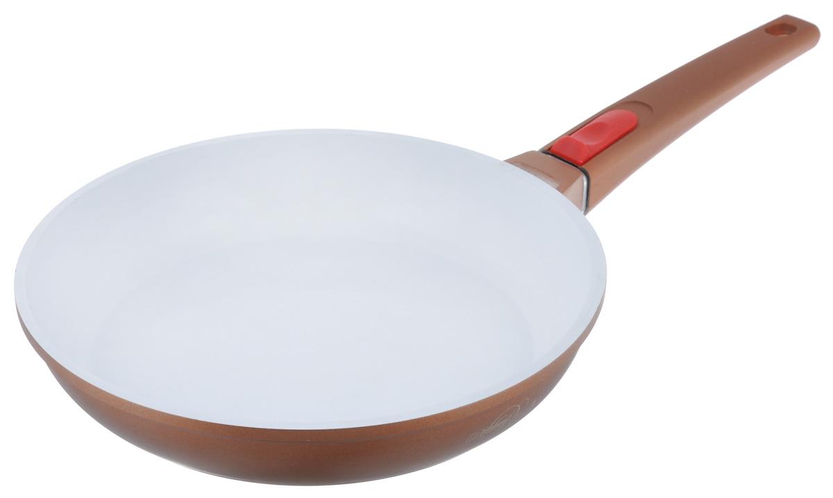 """Сковорода """"BartonSteel"""" изготовлена из алюминия с керамическим покрытием. Антипригарное покрытие из белой керамики абсолютно безопасно для здоровья человека и  окружающей среды. Кроме того, с таким покрытием пища не пригорает  и не прилипает к стенкам. Готовить можно с минимальным количеством подсолнечного масла.  Сковорода быстро разогревается, распределяя тепло по всей поверхности, что позволяет готовить в  энергосберегающем режиме, значительно сокращая время, проведенное у плиты.  Сковорода оснащена удобной съемной ручкой, выполненной из бакелита с силиконовым покрытием. Такая ручка не нагревается в процессе готовки и обеспечивает надежный хват. Крышка изготовлена из  жаропрочного стекла, оснащена ручкой, отверстием для выпуска пара и металлическим ободом. Благодаря такой  крышке можно следить за приготовлением пищи без потери тепла.  Можно использовать на газовых, электрических, стеклокерамических, галогенных, индукционных плитах.  Можно мыть в посудомоечной машине.  Диаметр сковороды: 26 см.   Высота стенки: 5 см.  Толщина стенки: 3 мм.  Толщина дна: 5 мм.   Длина ручки: 18,5 см."""