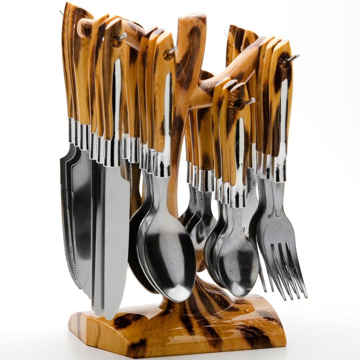 Набор столовых приборов Mayer&Boch Modern, 25 предметов4387Набор столовых приборов Mayer & Boch Modern выполнен из прочной нержавеющей стали. В набор входит 25 предметов: 6 обеденных ножей, 6 обеденных ложек, 6 обеденных вилок, 6 чайных ложек и подставка. Ручки приборов выполнены из пластика под дерево. Предметы набора расположены на подставке, выполненной из прочного пластика. Подставка оснащена четырьмя специальными крючками для подвешивания приборов. Столовые приборы высокого качества будут доставлять вам удовольствие при каждом приеме пищи. Они подойдут как для повседневного использования, так и для торжественных случаев. Набор столовых приборов Mayer & Boch Modern подойдет для сервировки стола как дома, так и на даче, и всегда будет важной частью трапезы, а также станет замечательным подарком.Размер рабочей поверхности столовой ложки: 6,5 см х 4 см. Длина столовой ложки: 18,5 см. Размер рабочей поверхности вилки: 6,5 см х 2,5 см. Длина вилки: 18,5 см. Размер рабочей поверхности чайной ложки: 4,5 см х 3 см.Длина чайной ложки: 15 см. Длина лезвия ножа: 10 см. Длина ножа: 21 см. Размер подставки: 15 см х 9,5 см х 23,5 см.