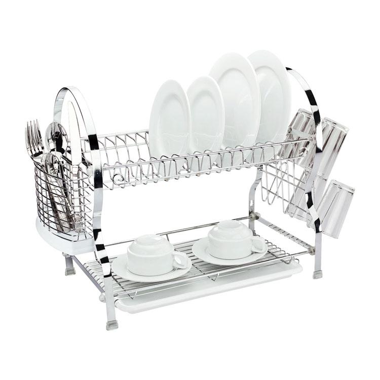 Сушилка для посуды Mayer & Boch, двухъярусная, 54 х 26 х 41 см4005Двухъярусная сушилка для посуды Mayer & Boch выполнена из хромированной нержавеющей стали и полипропилена. Изделие оснащено поддоном для стекания воды и подставками для столовых приборов и стаканов. Сушилка может быть установлена как на столе, так и подвешена на стену при помощи крючков (не входят в комплект). Размер сушилки (с учетом подставок): 54 см х 26 см х 41 см.Размер поддона: 38 см х 25 см х 2,5 см.
