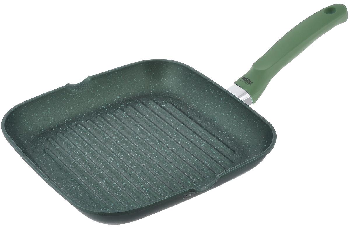 Сковорода-гриль Risoli, с антиприграным покрытием, 26 х 26 см0094BDR/26GSСковорода-гриль Risoli изготовлена из литого алюминия с толстым дном. Новое антипригарное каменное покрытие Dr. Green гарантирует максимальные качества, прочность и долговечность. Экологически чистое, не содержит PFOA, не содержит никеля.Рифленая поверхность сковороды имитирует решетку гриля и образует аппетитную корочку, при этом жир стекает в желобки, не давая продуктам контактировать с ним, что обеспечивает приготовление здоровой пищи. Лишний жир вы можете легко удалить через удобные носики для слива, расположенные по бокам сковороды. Сковорода оснащена ручкой из бакелита с силиконовым покрытием. В процессе приготовления рекомендуется использовать деревянные или пластиковые лопатки. Подходит для газовых, электрических и стеклокерамических плит. Не подходит для индукционных плит.Размер сковороды (по верхнему краю): 26 см х 26 см. Высота стенок сковороды: 4 см. Толщина стенок сковороды: 0,3 см. Толщина дна сковороды: 0,5 см. Диаметр диска сковороды: 19 см. Длина ручки сковороды: 18,5 см.