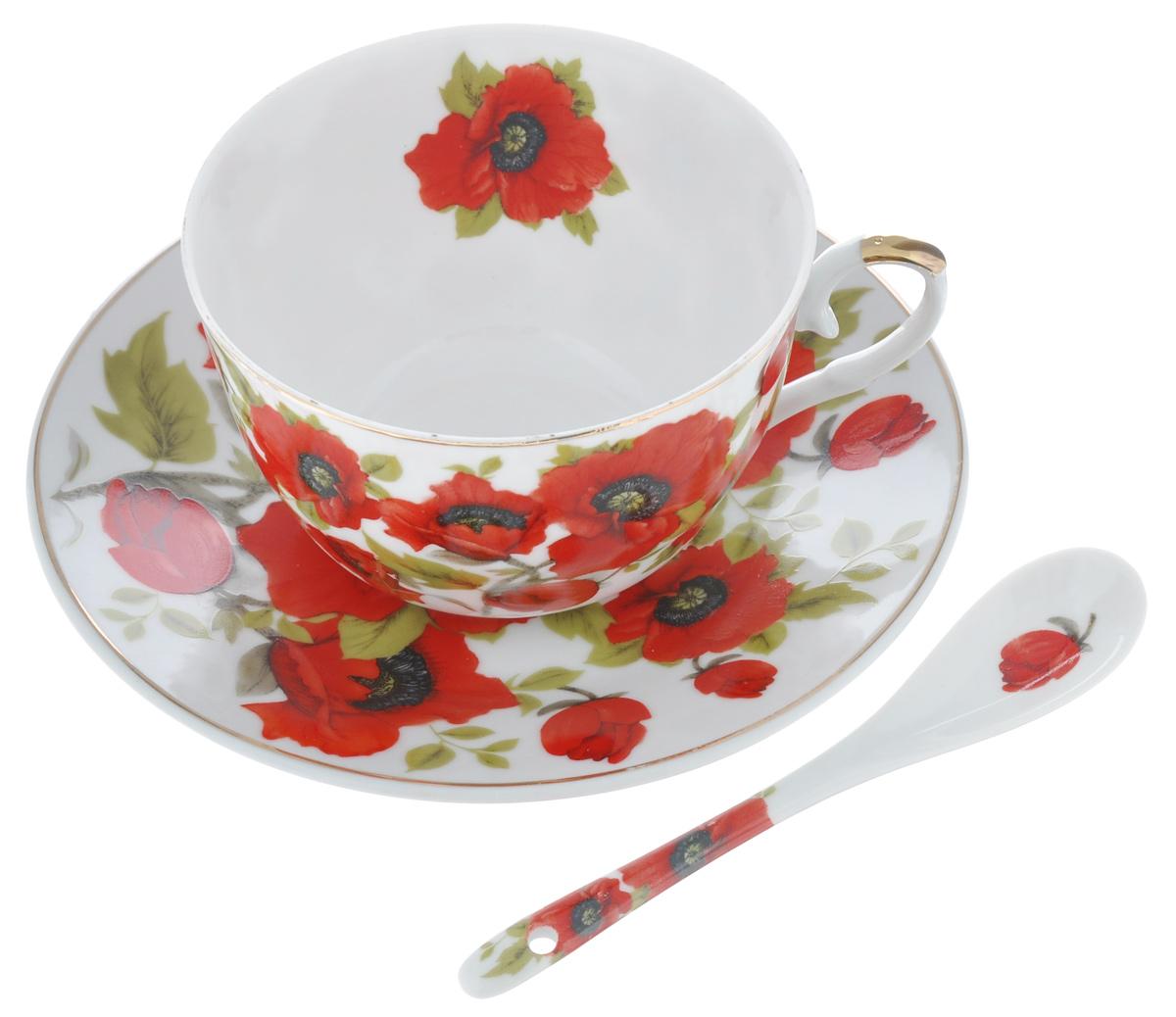 Чайная пара Elan Gallery Маки, с ложкой, цвет: белый, красный, 3 предмета180803Чайная пара Elan Gallery Маки, состоит из чашки блюдца и ложки. Предметы набора выполнены из высококачественной керамики и оформлены изящным изображением цветов. Яркий дизайн, несомненно, придется вам по вкусу.Чайная пара Elan Gallery Маки украсит ваш кухонный стол, а также станет замечательным подарком к любому празднику. Объем чашки: 250 мл.Диаметр чашки (по верхнему краю): 9,5 см.Диаметр дна чашки: 4,5 см.Высота чашки: 15 см.Диаметр блюдца: 6,5 см.Высота блюдца: 1,8 см.Размер рабочей поверхности ложки: 4 см х 2,5 см х 1 см.Длина ложки: 12,5 см.