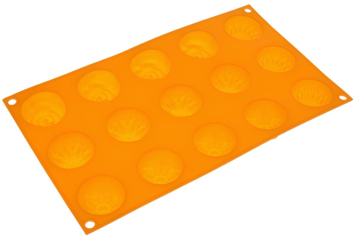 Форма для выпечки Marmiton Цветочки, цвет: оранжевый, 29,5 х 17,5 х 2,5 см, 15 ячеек16004_оранжевыйФорма для выпечки Marmiton Цветочки выполнена из силикона. На одном листе расположены 15 ячеек, выполненных в виде цветов. Благодаря тому, что форма изготовлена из силикона, готовый лед, выпечку или мармелад вынимать легко и просто.С такой формой вы всегда сможете порадовать своих близких оригинальной выпечкой.Материал устойчив к фруктовым кислотам, может быть использован в духовках, микроволновых печах и морозильных камерах (выдерживает температуру от 240°C до - 40°C). Можно мыть и сушить в посудомоечной машине.Общий размер формы: 29,5 см х 17,5 см х 2,5 см. Размер ячейки: 4 см х 4 см х 2,5 см.