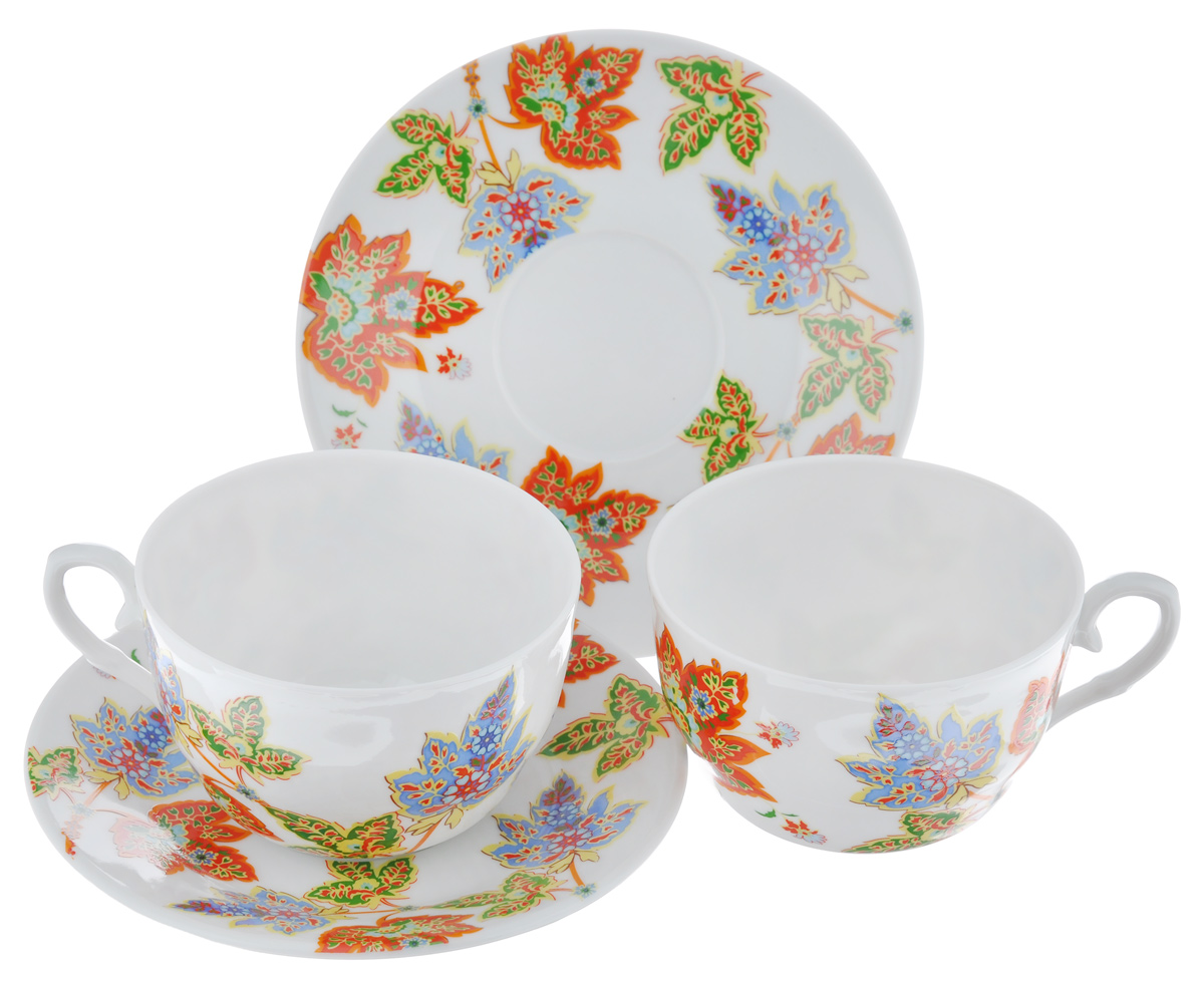 Чайный набор LarangE Восточный микс, цвет: оранжевый, синий, зеленый, 4 предмета набор чайный 12 пр кантри роуз larange