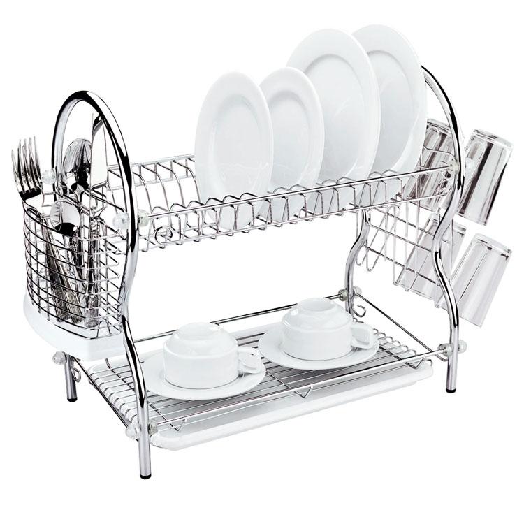 """Двухъярусная сушилка для посуды """"Mayer & Boch"""" выполнена из  хромированной нержавеющей стали и полипропилена. Изделие  оснащено поддоном для стекания воды и подставками для  столовых приборов и стаканов. Сушилка может  быть установлена как на столе, так и подвешена на стену при  помощи крючков (не входят в комплект).  Размер сушилки (с учетом подставок): 54 см х 25 см х 45 см. Размер поддона: 38 см х 25 см х 2,5 см."""