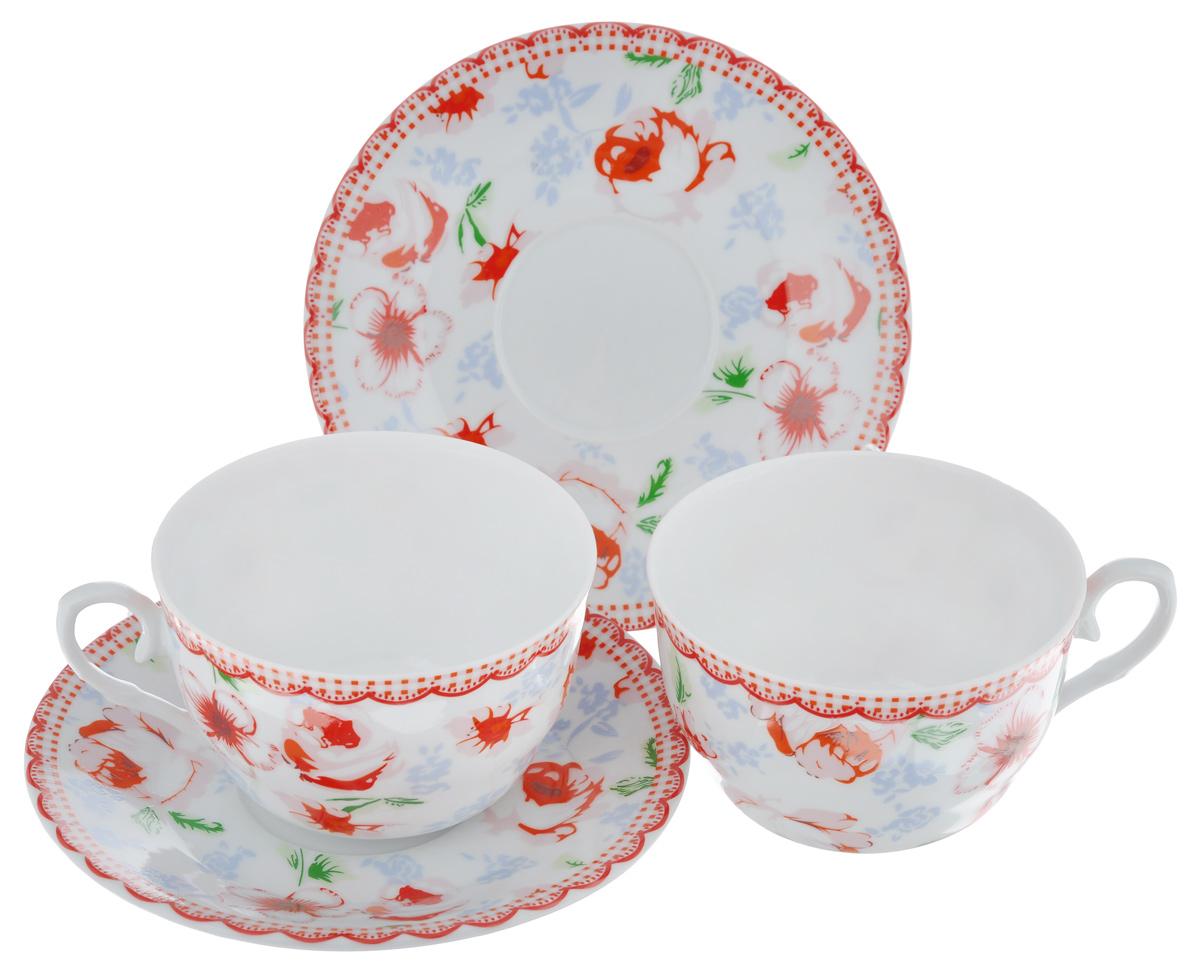 Чайный набор LarangE Кантри, цвет: белый, красный, 4 предмета586-328Чайный набор LarangE Кантри состоит из двух чашек и двух блюдец,изготовленных из фарфора. Предметы набора оформленыизящным ярким рисунком.Чайный набор LarangE Кантри украсит ваш кухонный стол, а такжестанет замечательным подарком друзьям и близким.Объем чашки: 250 мл.Диаметр чашки по верхнему краю: 9 см.Высота чашки: 6 см.Диаметр блюдца: 14,5 см.