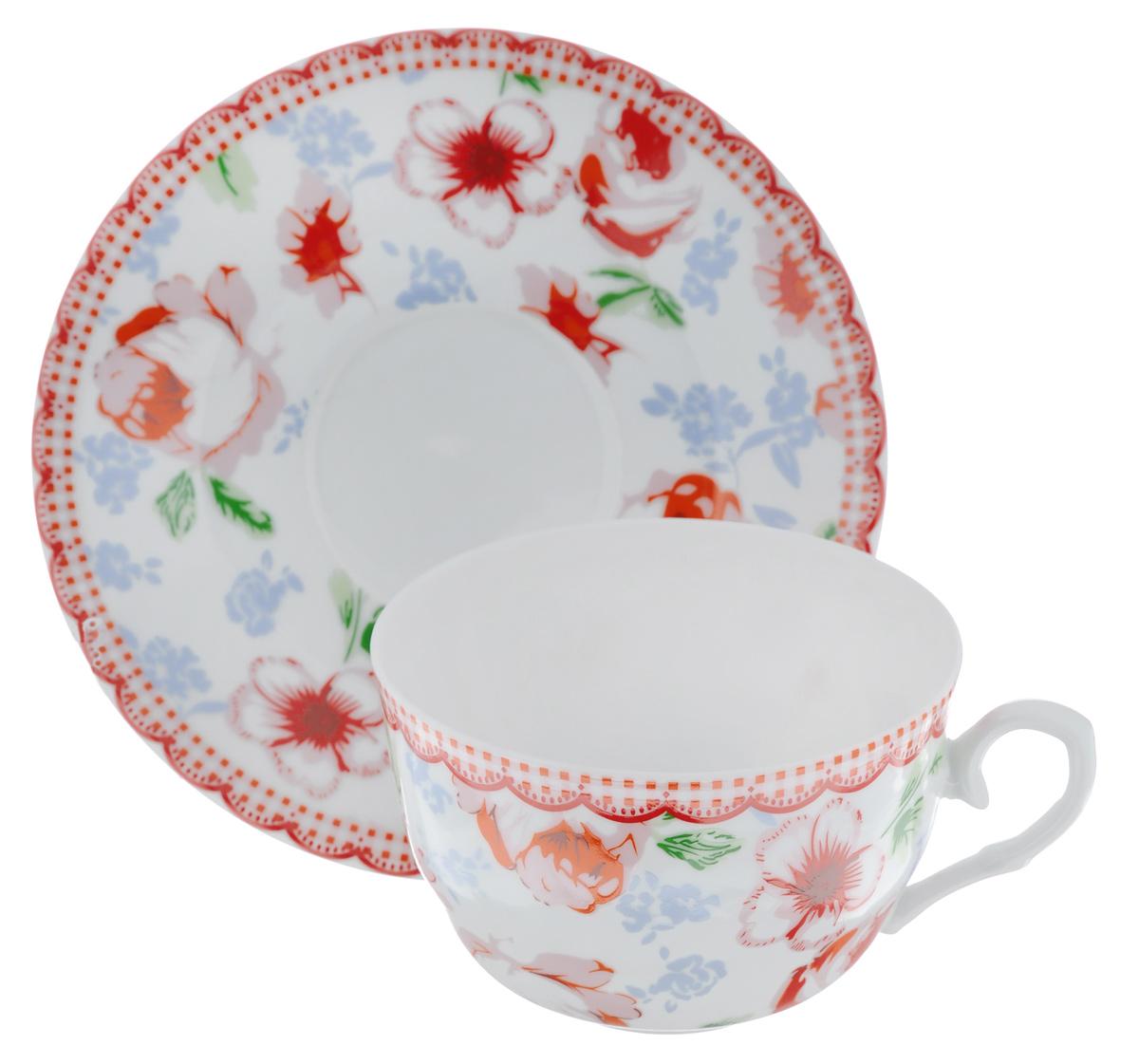 Чайная пара LarangE Кантри, цвет: белый, красный, 2 предмета586-336Чайная пара LarangE Кантри состоит из чашки и блюдца,изготовленных из фарфора. Предметы набора оформленыизящным ярким рисунком.Чайная пара LarangE Кантри украсит ваш кухонный стол, а такжестанет замечательным подарком друзьям и близким.Объем чашки: 250 мл.Диаметр чашки по верхнему краю: 9 см.Высота чашки: 6 см.Диаметр блюдца: 14,5 см.