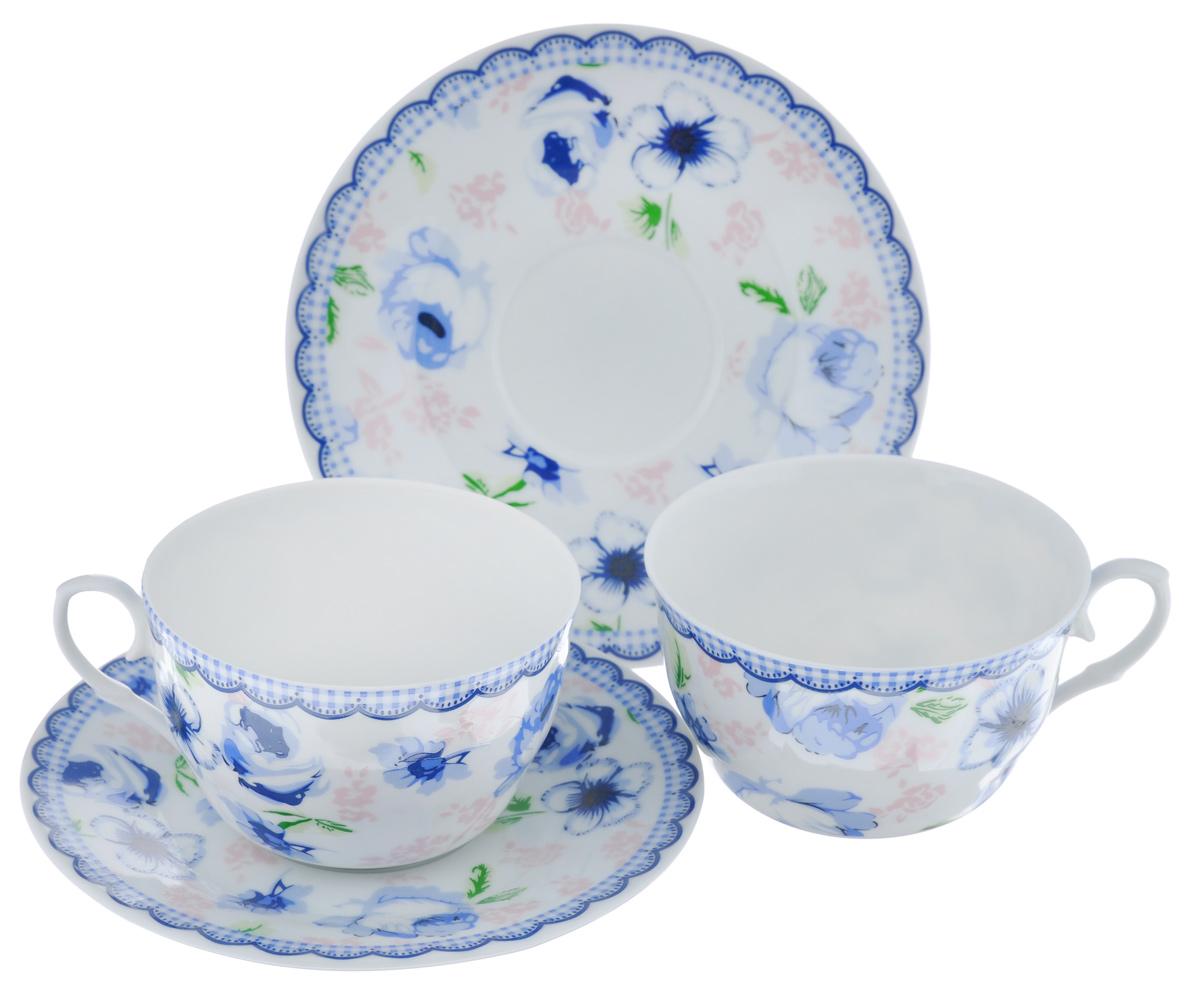 Набор чайный LarangE Кантри, цвет: белый, синий, розовый, 4 предмета стоимость