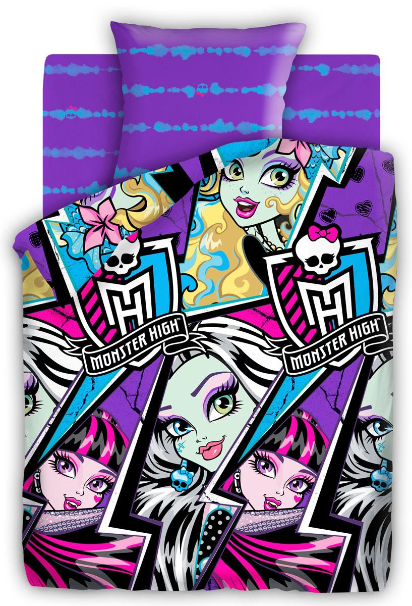 Monster High Комплект детского постельного белья Молнии 1,5-спальный264922Постельное белье Monster High Молнии выполнено из высококачественного поплина. Комплект состоит из пододеяльника, простыни и наволочки. Пододеяльник оформлен ярким контрастным принтом. Такой комплект несомненно придется по душе каждой юной поклоннице мультсериала Школа Монстров.Постельное белье из поплина отличается тем, что оно не только прочное, хорошо сохраняет форму и цвет, но и имеет приятную мягкую поверхность. Поплин хорошо удерживает тепло, превосходно впитывает влагу и позволяет телу дышать.